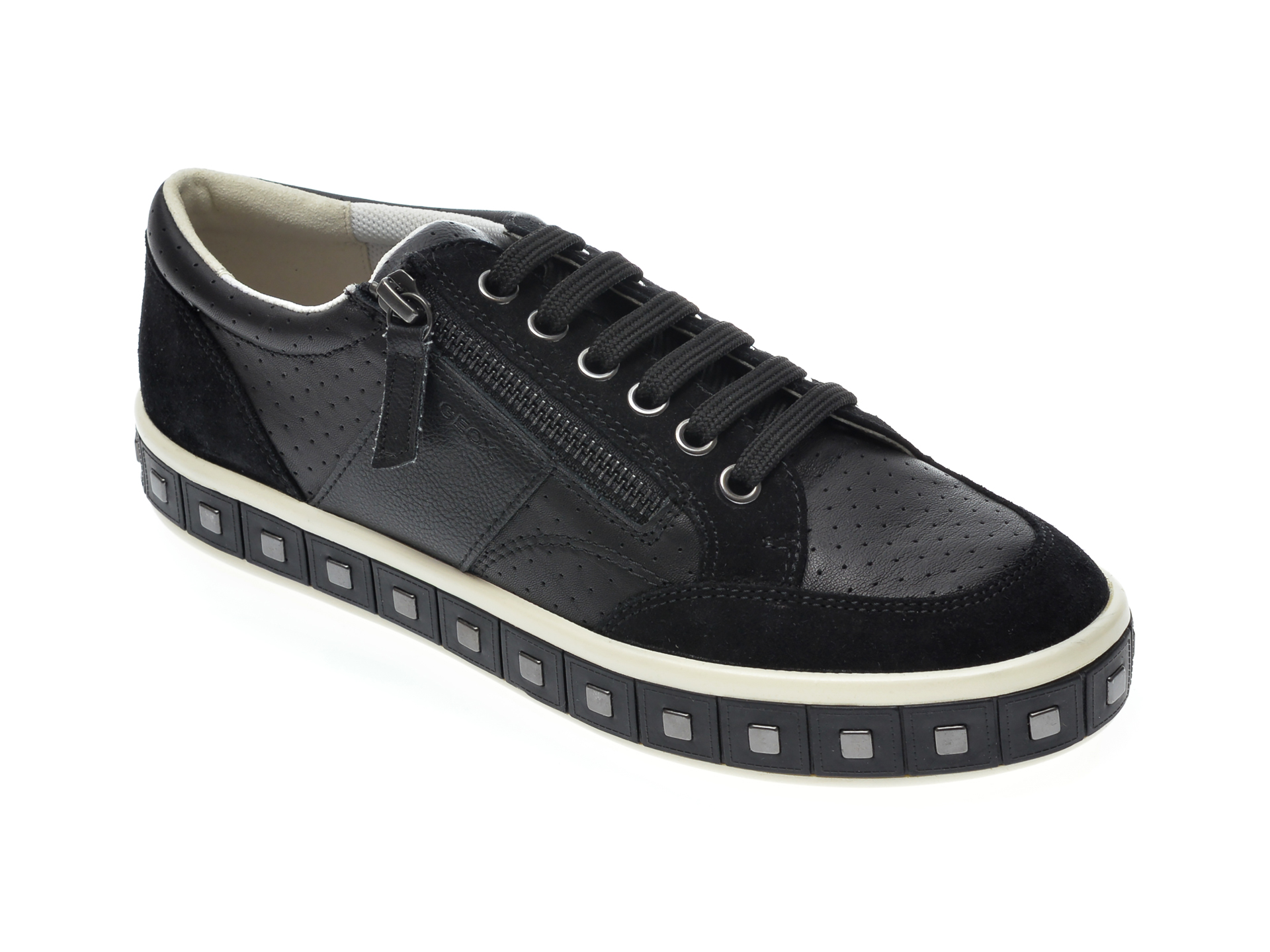 Pantofi sport GEOX negri, D94FFE, din piele naturala imagine otter.ro