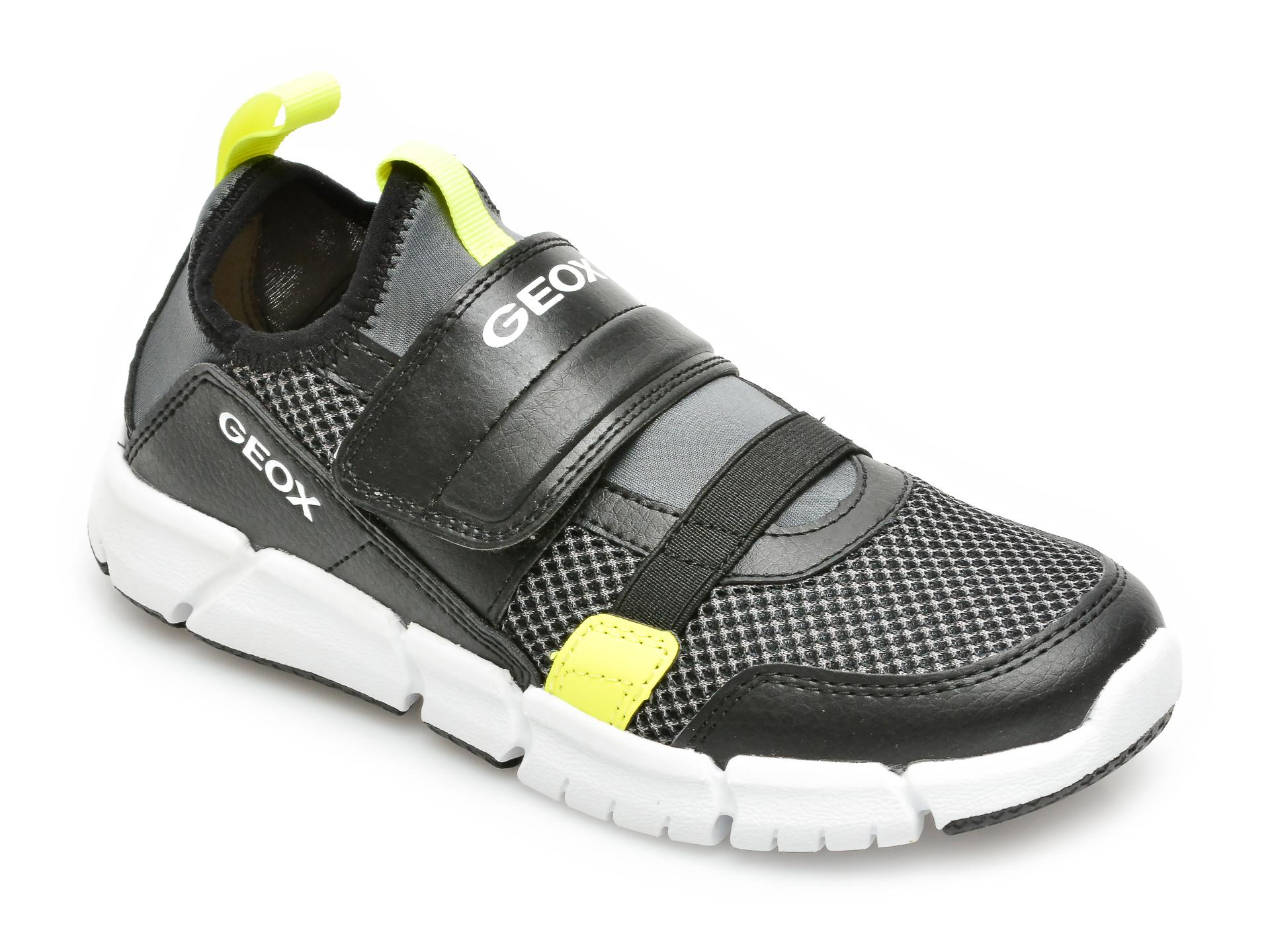 Pantofi sport GEOX negri, J159BC, din material textil si piele ecologica