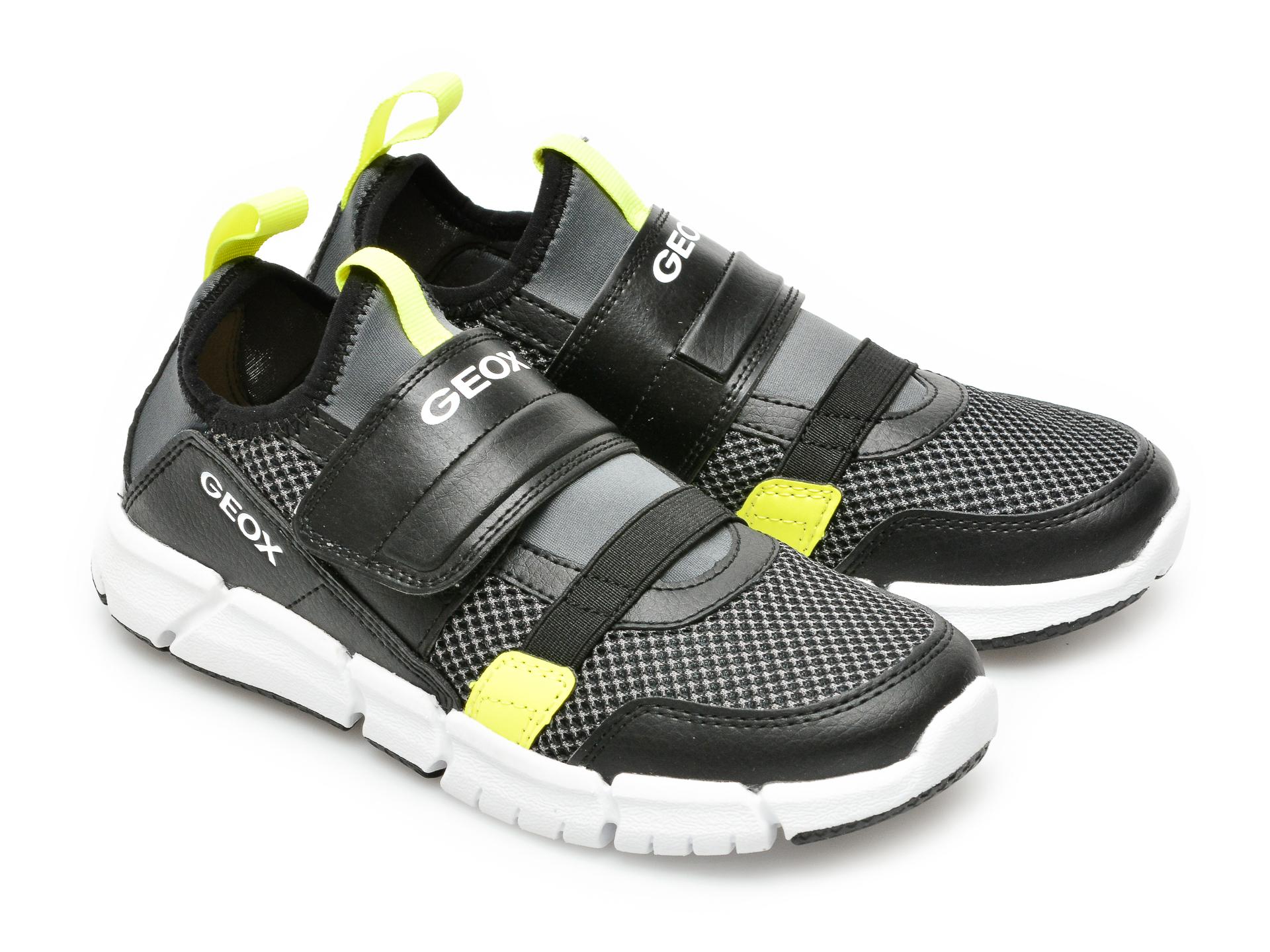 Pantofi sport GEOX negri, J159BC, din material textil si piele ecologica - 4
