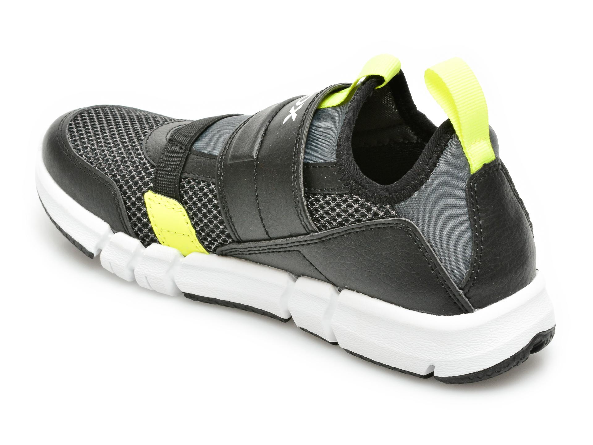 Pantofi sport GEOX negri, J159BC, din material textil si piele ecologica - 5