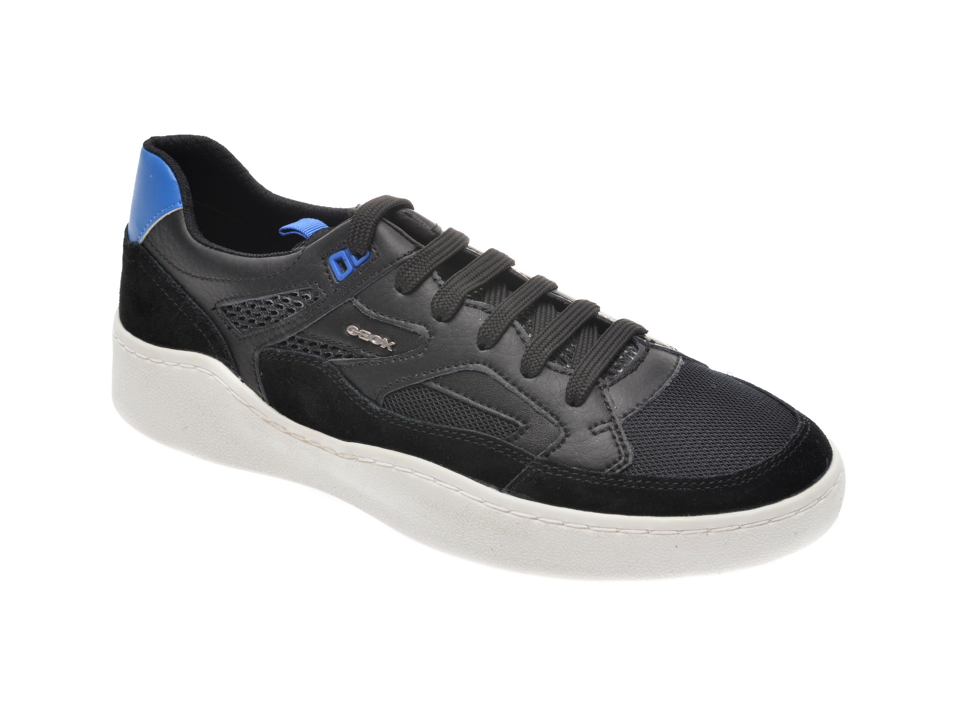 Pantofi sport GEOX negri, U027XA, din material textil si piele naturala imagine