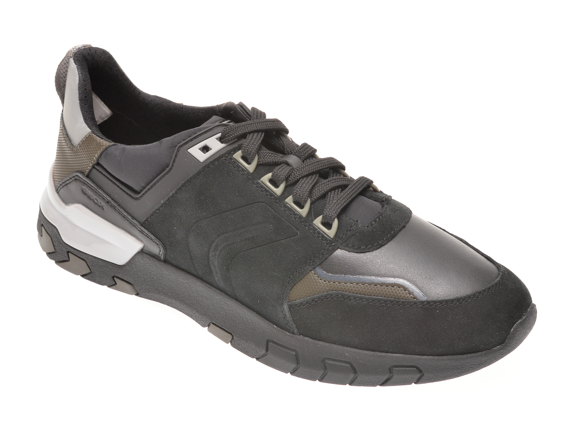 Pantofi sport GEOX negri, U048ZA, din piele intoarsa imagine