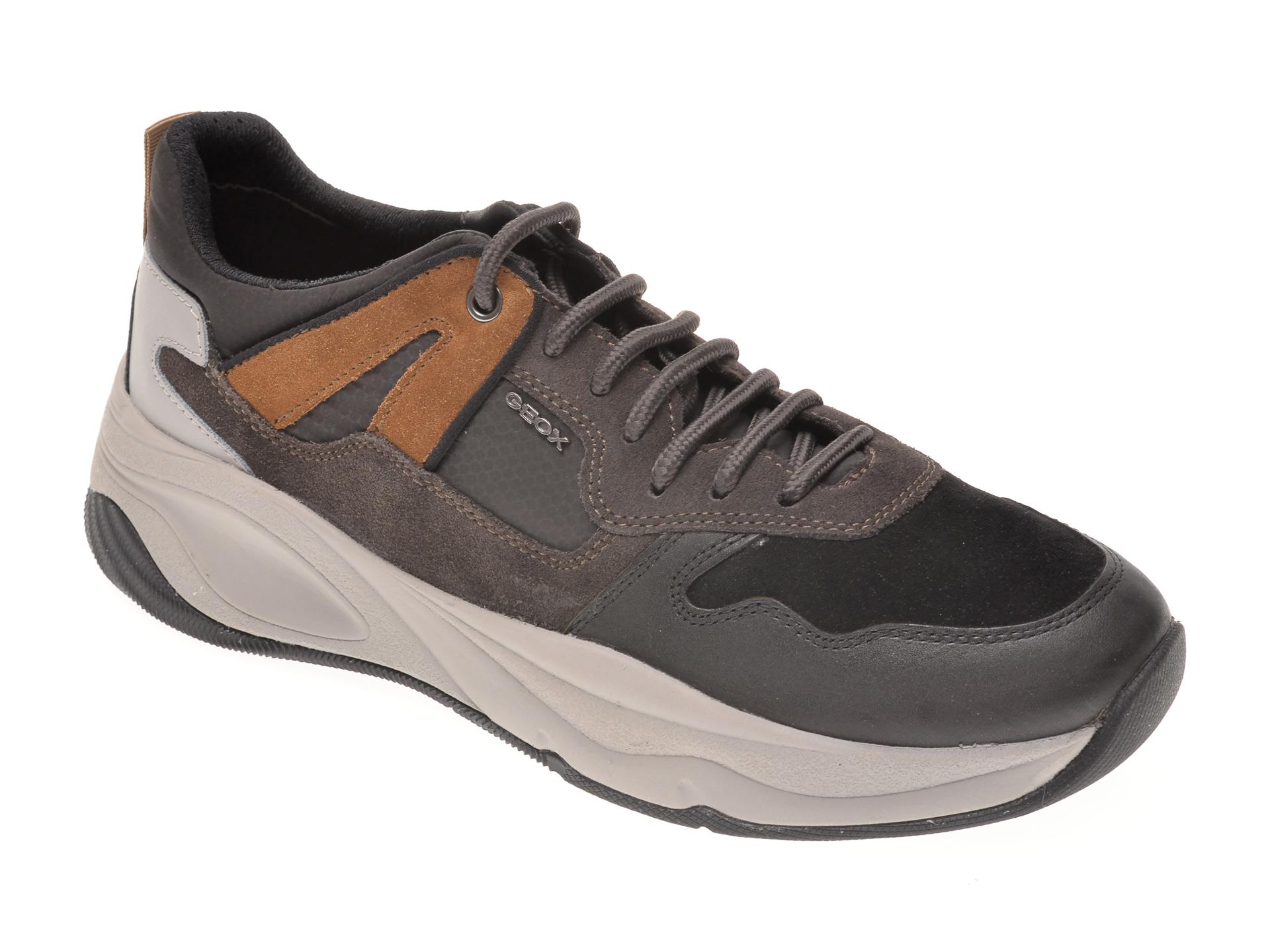 Pantofi sport GEOX negri, U04ASA, din piele naturala imagine