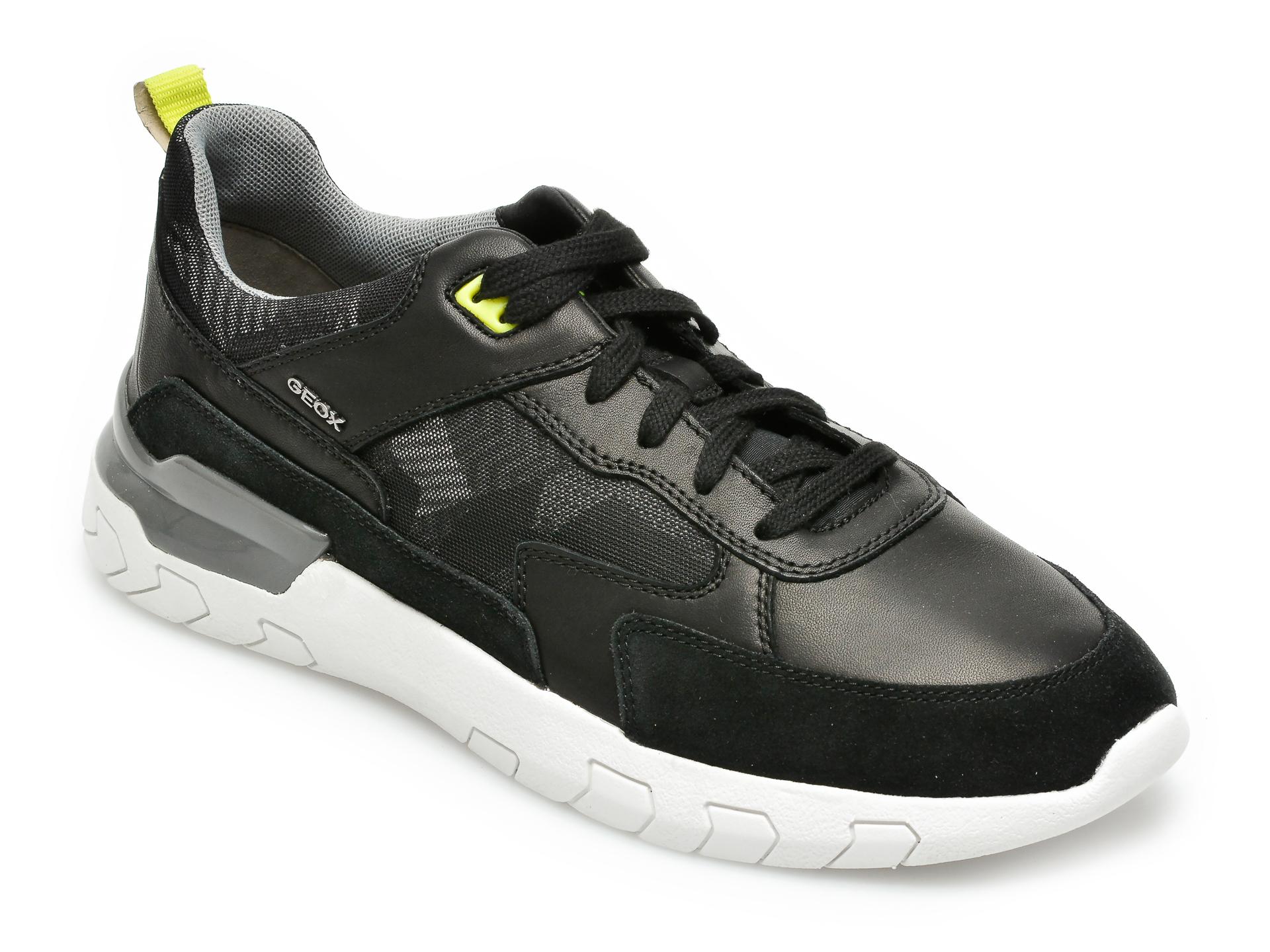 Pantofi sport GEOX negri, U158ZC, din material textil si piele naturala imagine
