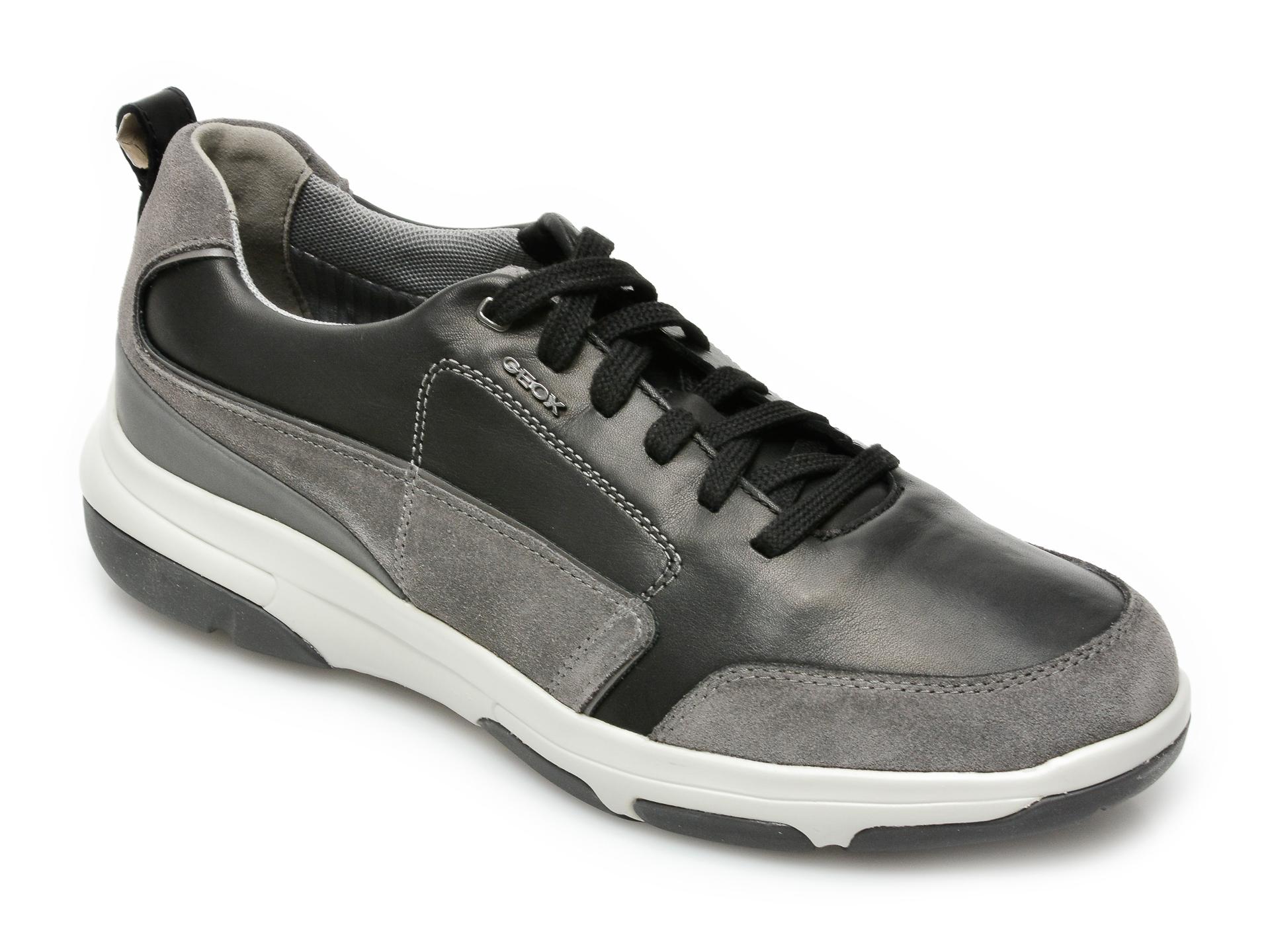 Pantofi sport GEOX negri, U15C0A, din piele naturala imagine