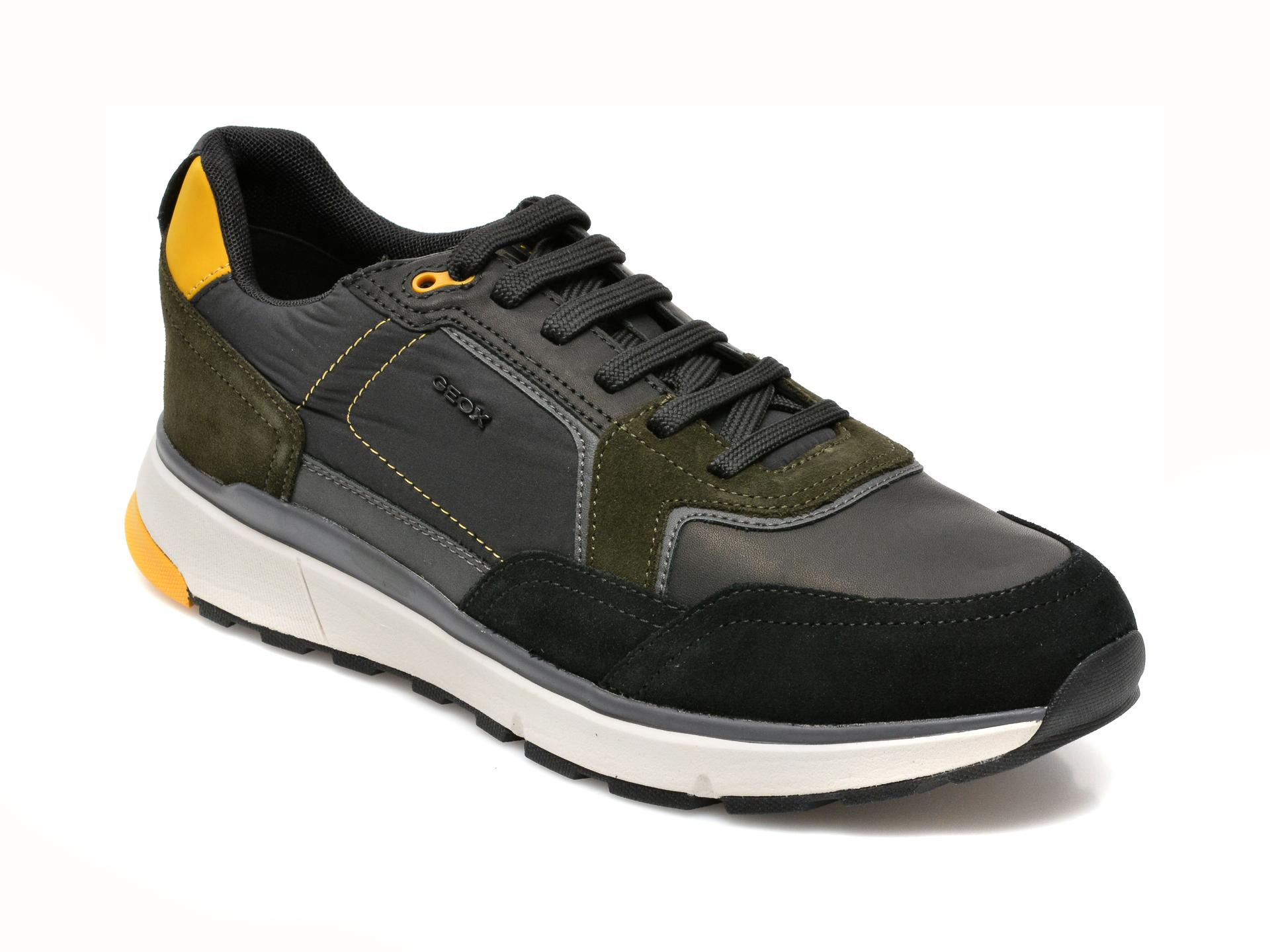 Pantofi sport GEOX negri, U16DQA, din material textil si piele intoarsa imagine 2021 Geox