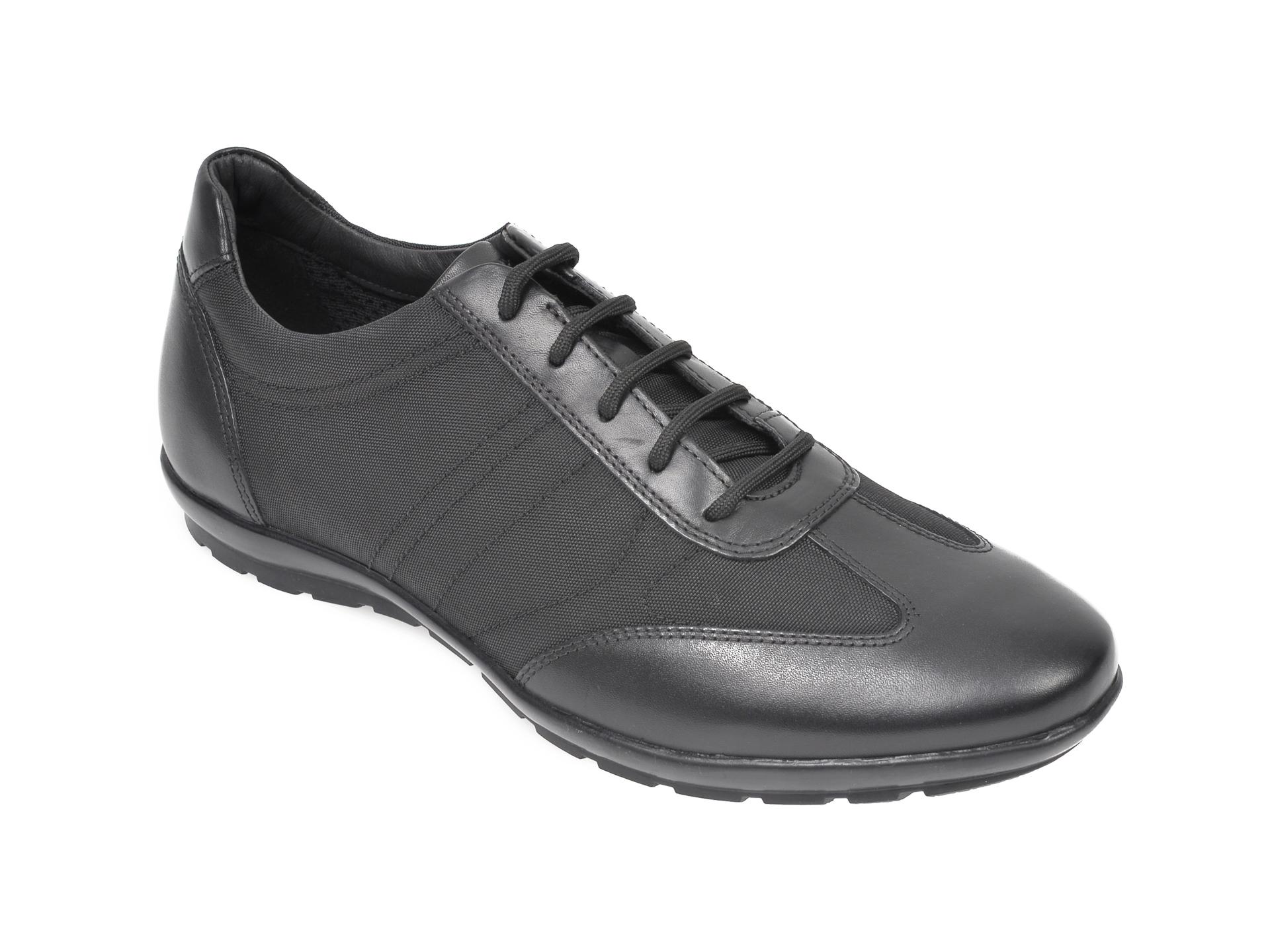 Pantofi sport GEOX negri, U74A5B, din piele naturala si material textil imagine