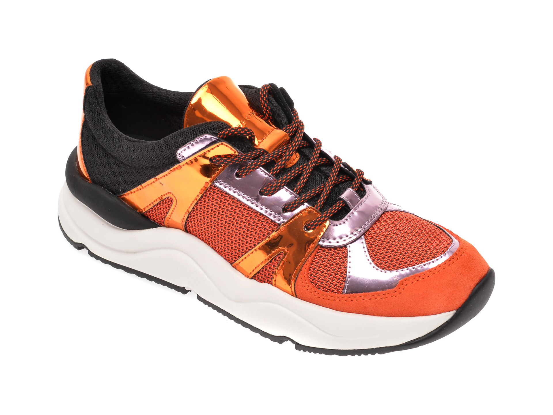 Pantofi sport GEOX portocalii, D02GDA, din material textil si piele ecologica