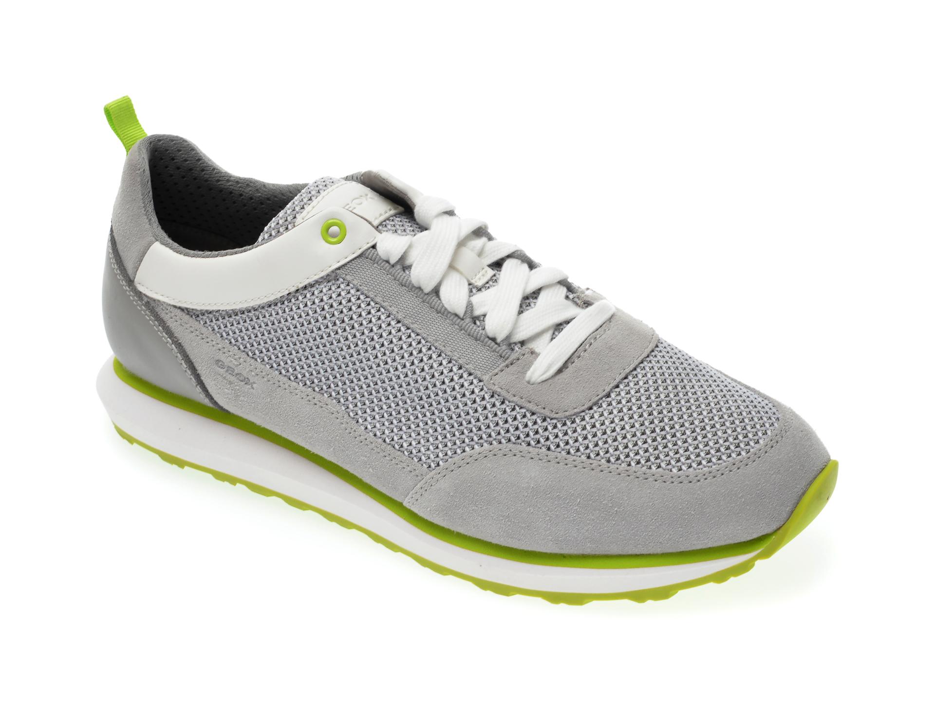 Pantofi sport GEOX sport gri, U029WC, din material textil si piele naturala imagine