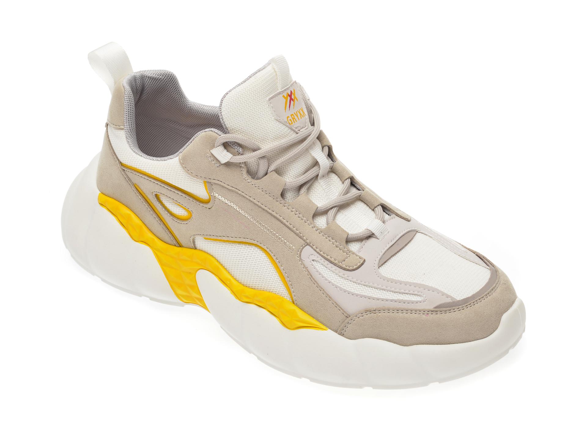 Pantofi sport GRYXX albi, 3893, din material textil si piele ecologica