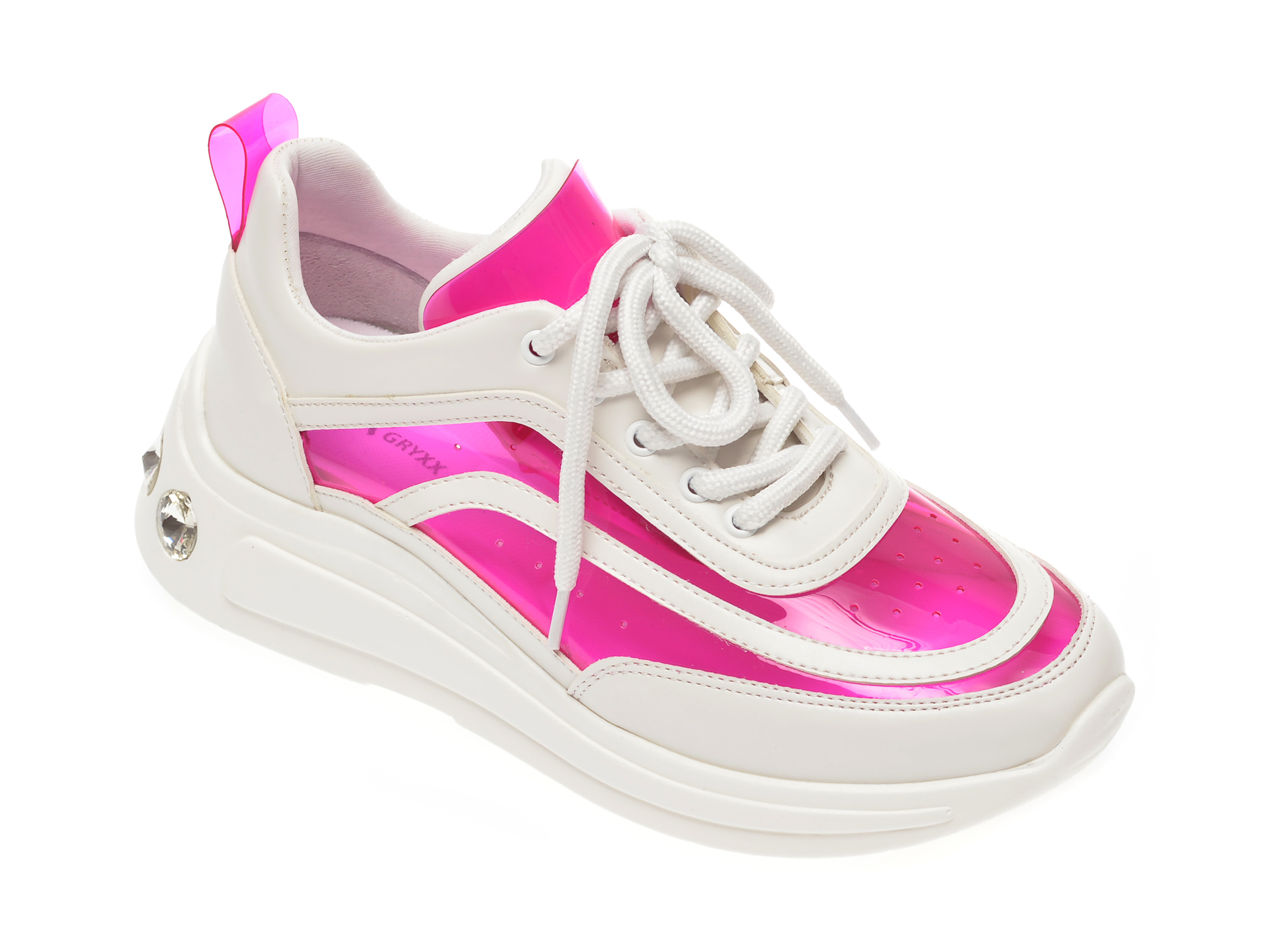 Pantofi sport GRYXX albi, P413, din piele ecologica