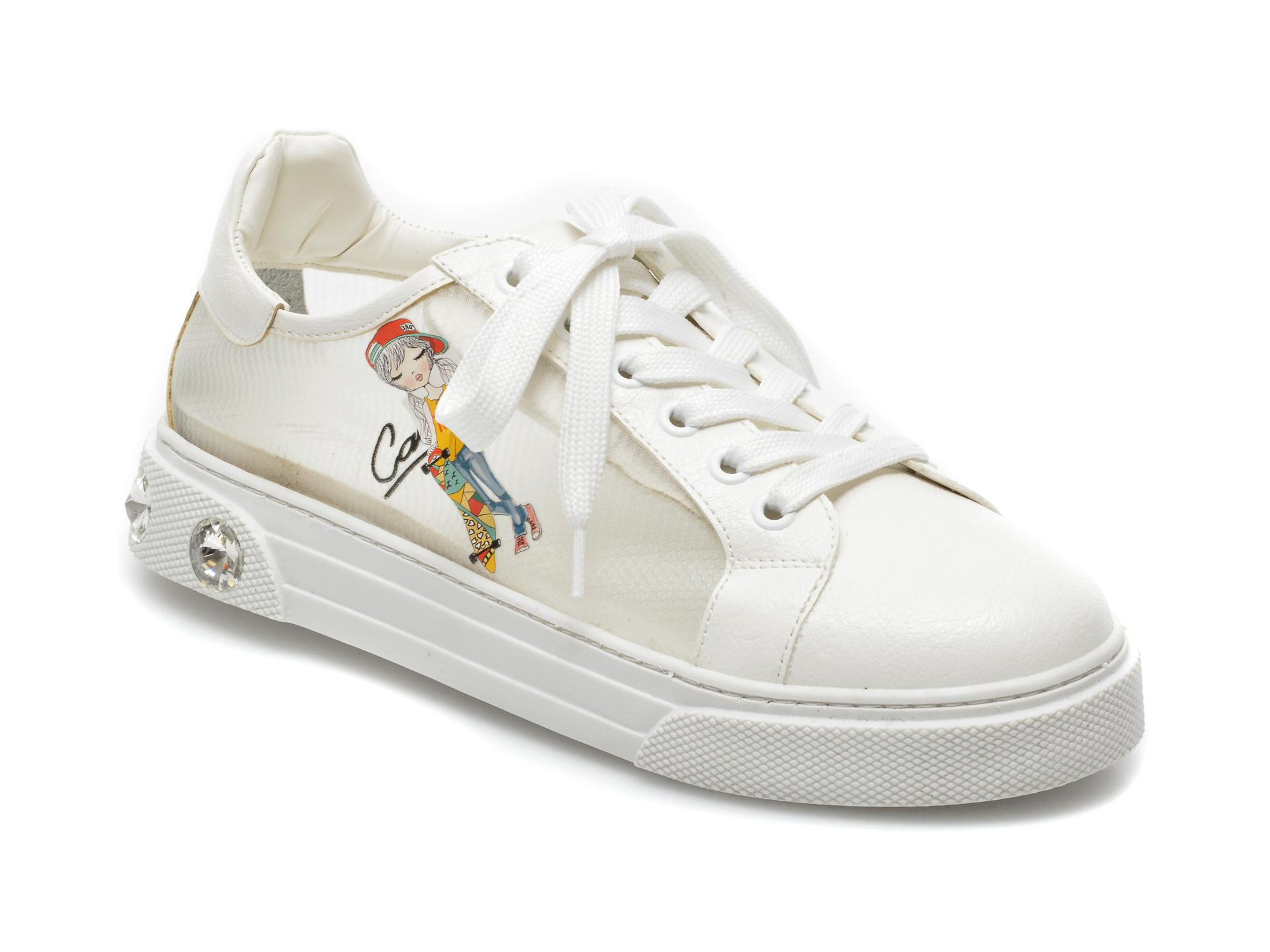 Pantofi sport GRYXX albi, T20106, din material textil si piele ecologica imagine otter.ro 2021