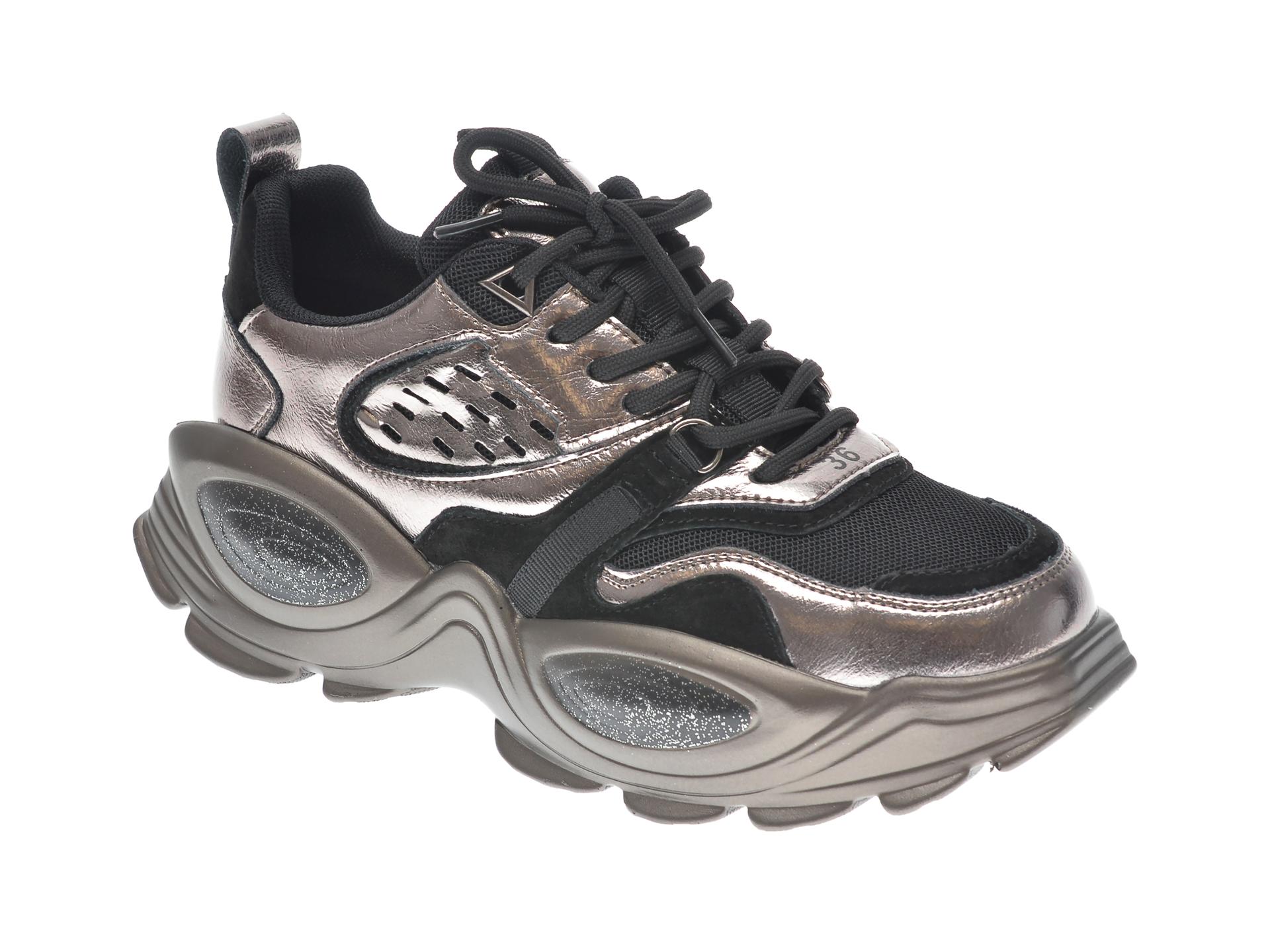 Pantofi sport GRYXX argintii, 60151, din material textil si piele naturala imagine