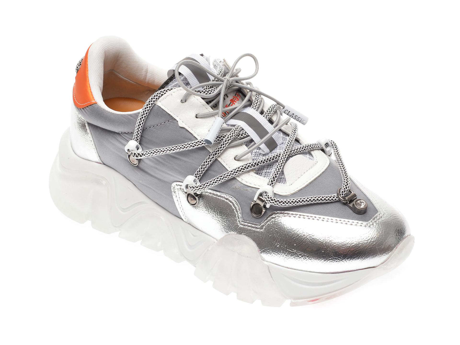 Pantofi sport GRYXX argintii, T912, din material textil si piele ecologica imagine