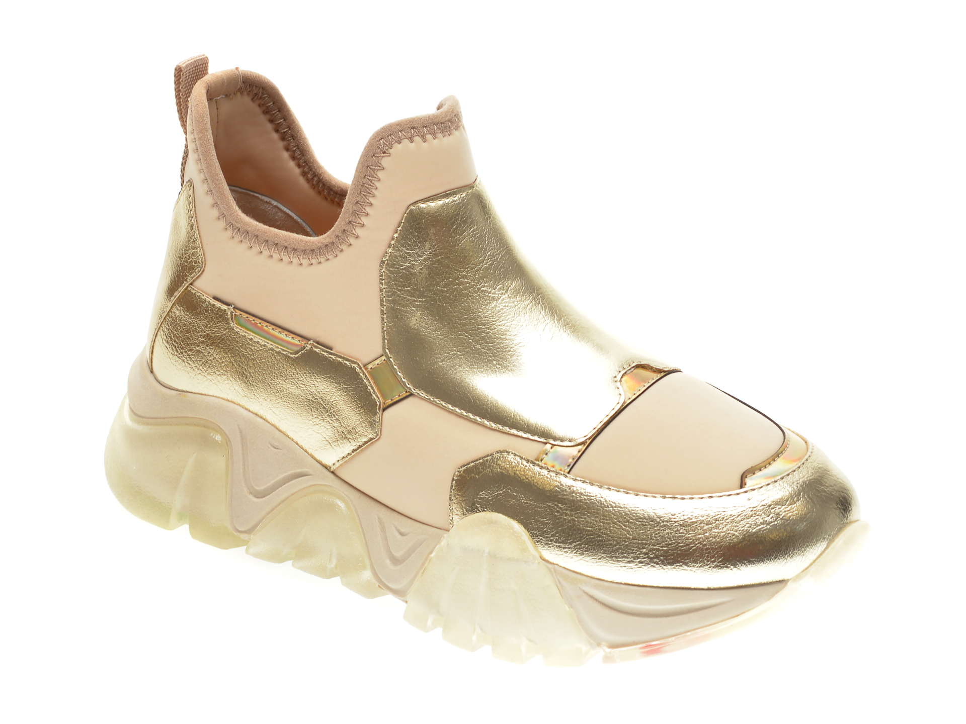 Pantofi sport GRYXX aurii, T953, din material textil si piele ecologica