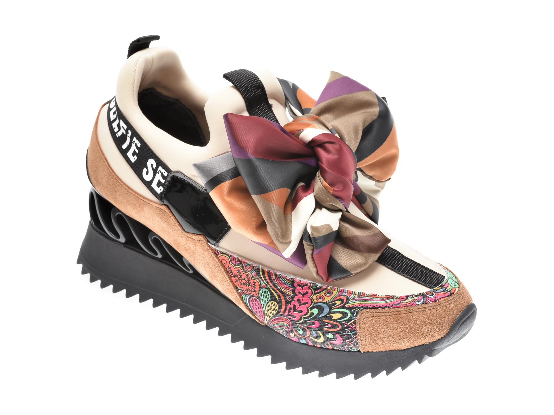 Pantofi sport GRYXX bej, MK8855, din material textil si piele ecologica