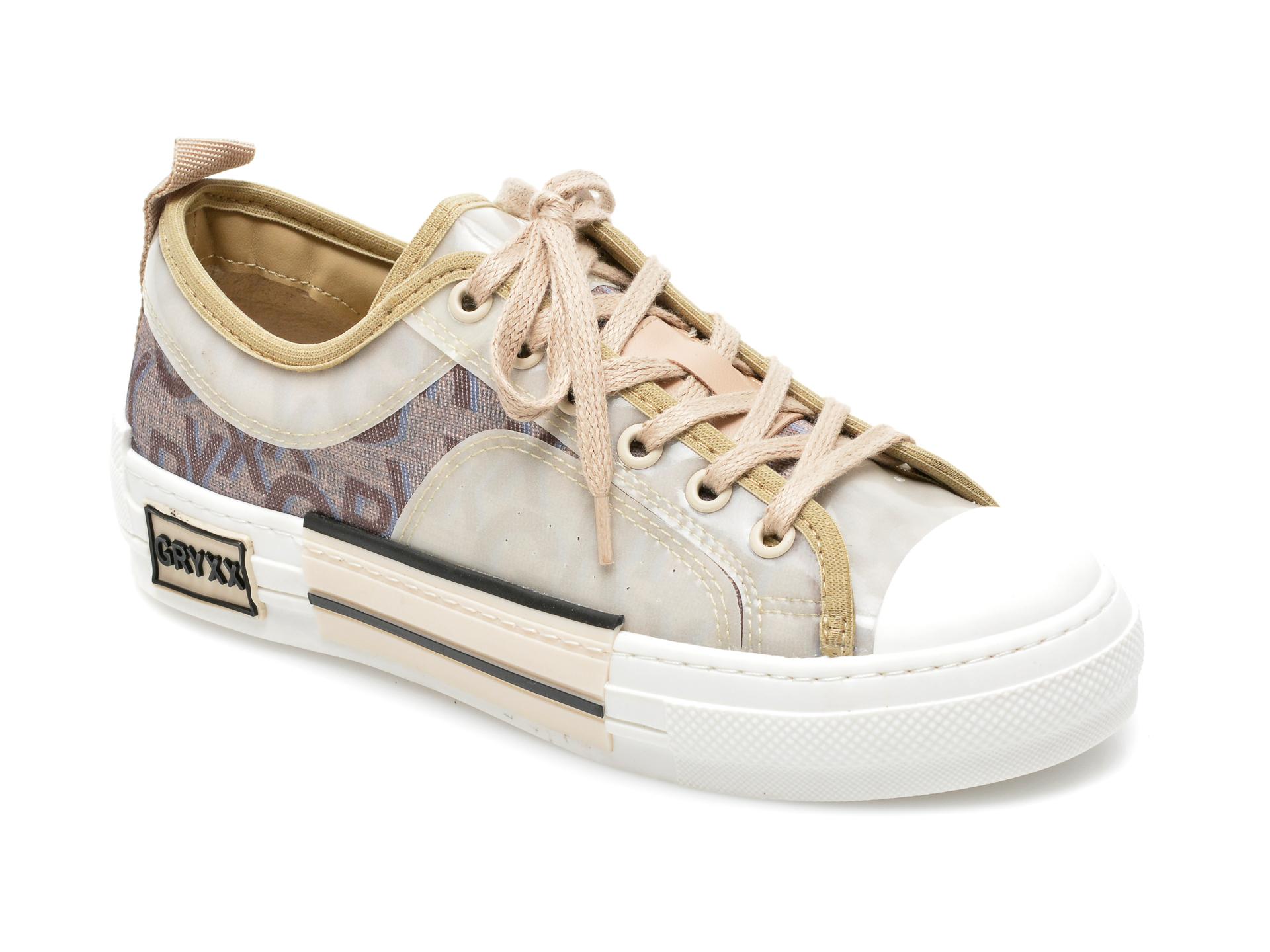 Pantofi sport GRYXX bej, T131, din material textil si pvc