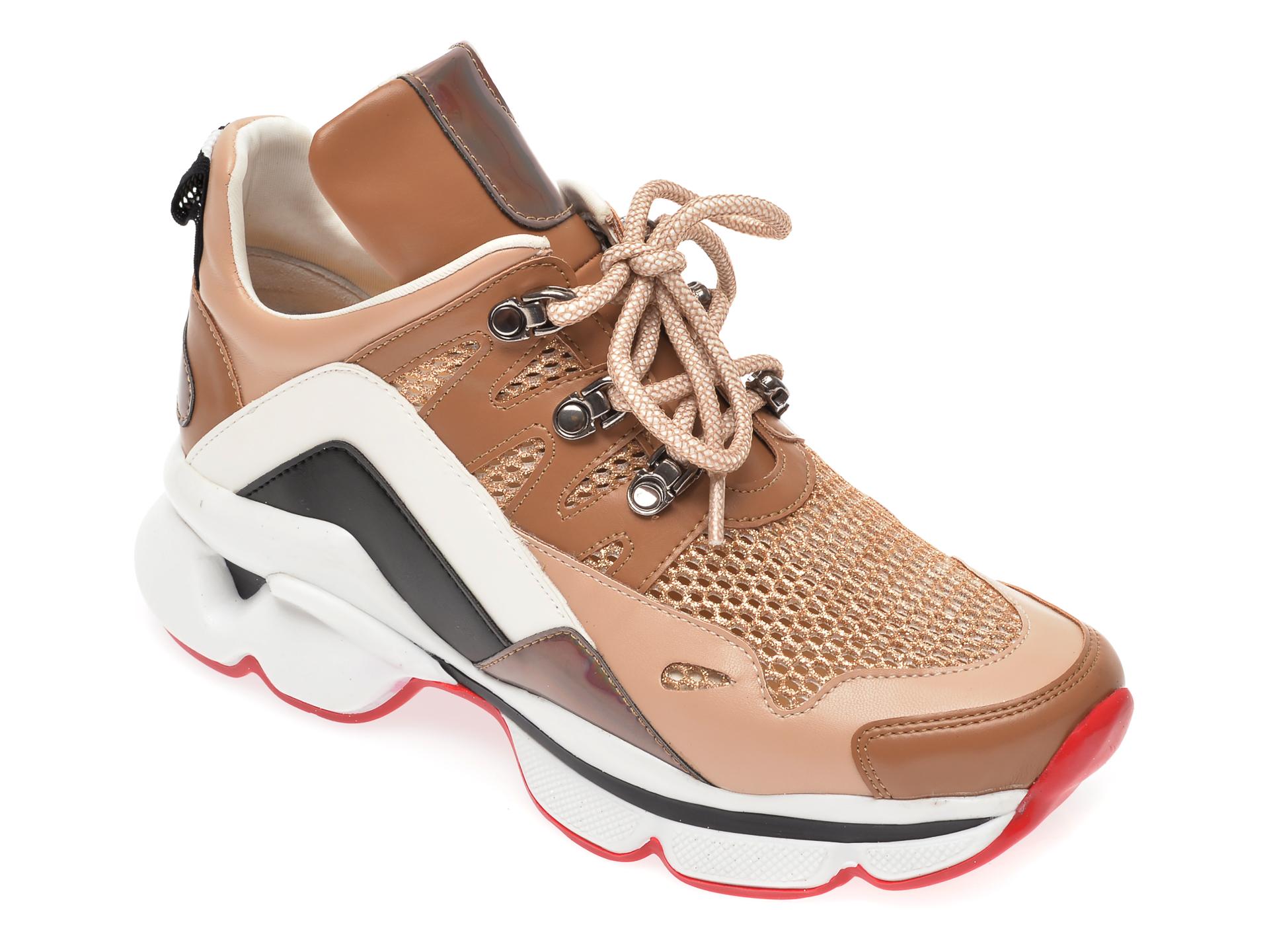 Pantofi sport GRYXX bej, T410, din material textil si piele ecologica