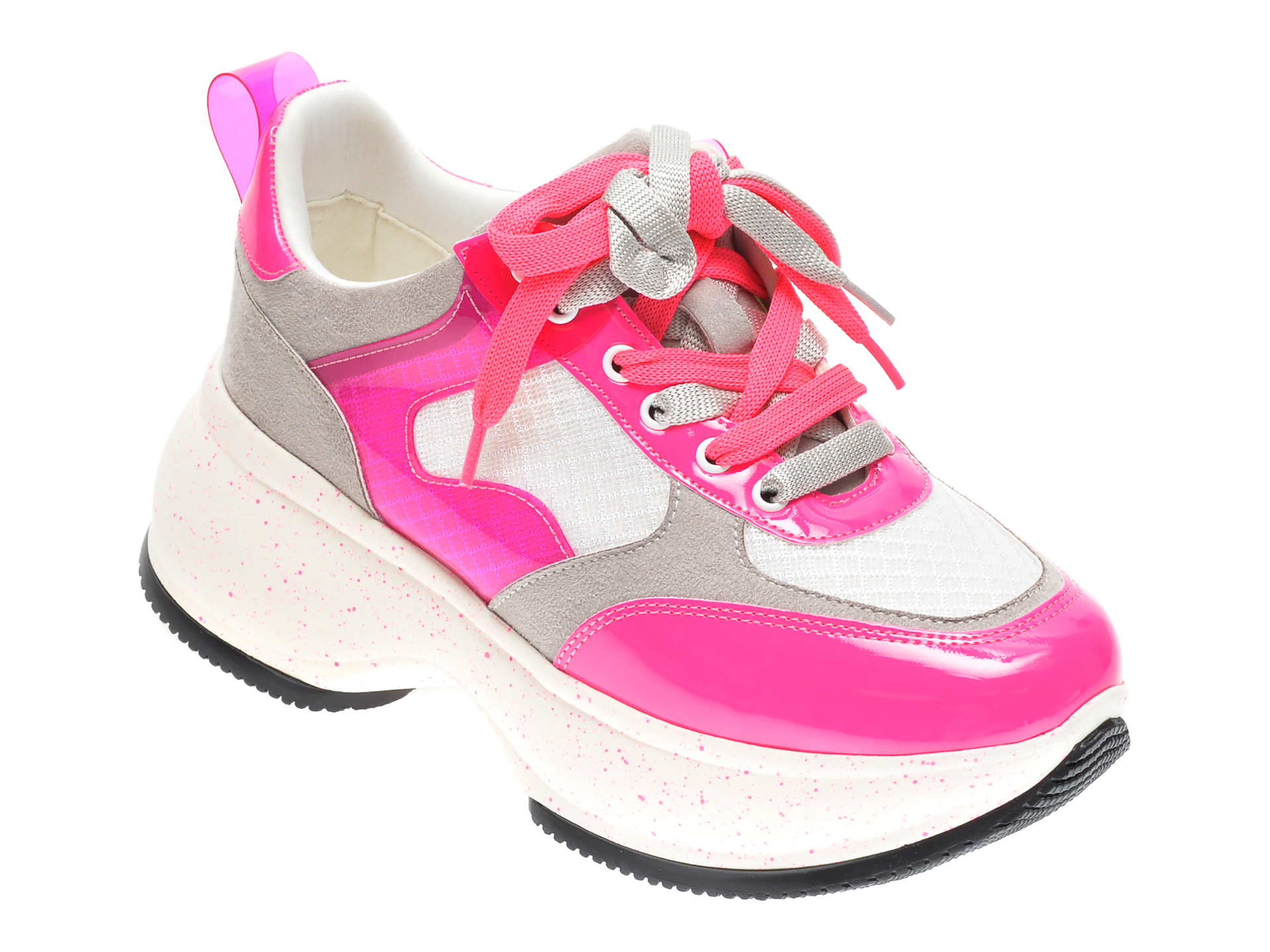 Pantofi sport GRYXX fucsia, M01041, din material textil si piele naturala
