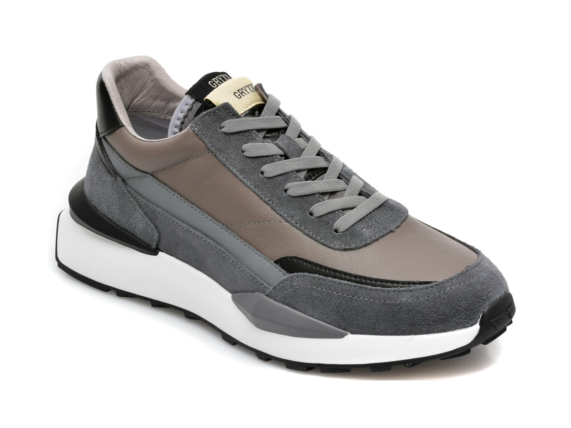 Pantofi sport GRYXX gri, 20735, din piele naturala imagine otter.ro