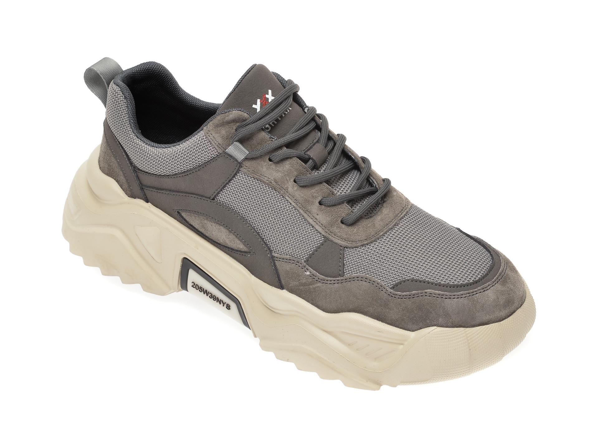 Pantofi sport GRYXX gri, 35917, din material textil si piele intoarsa