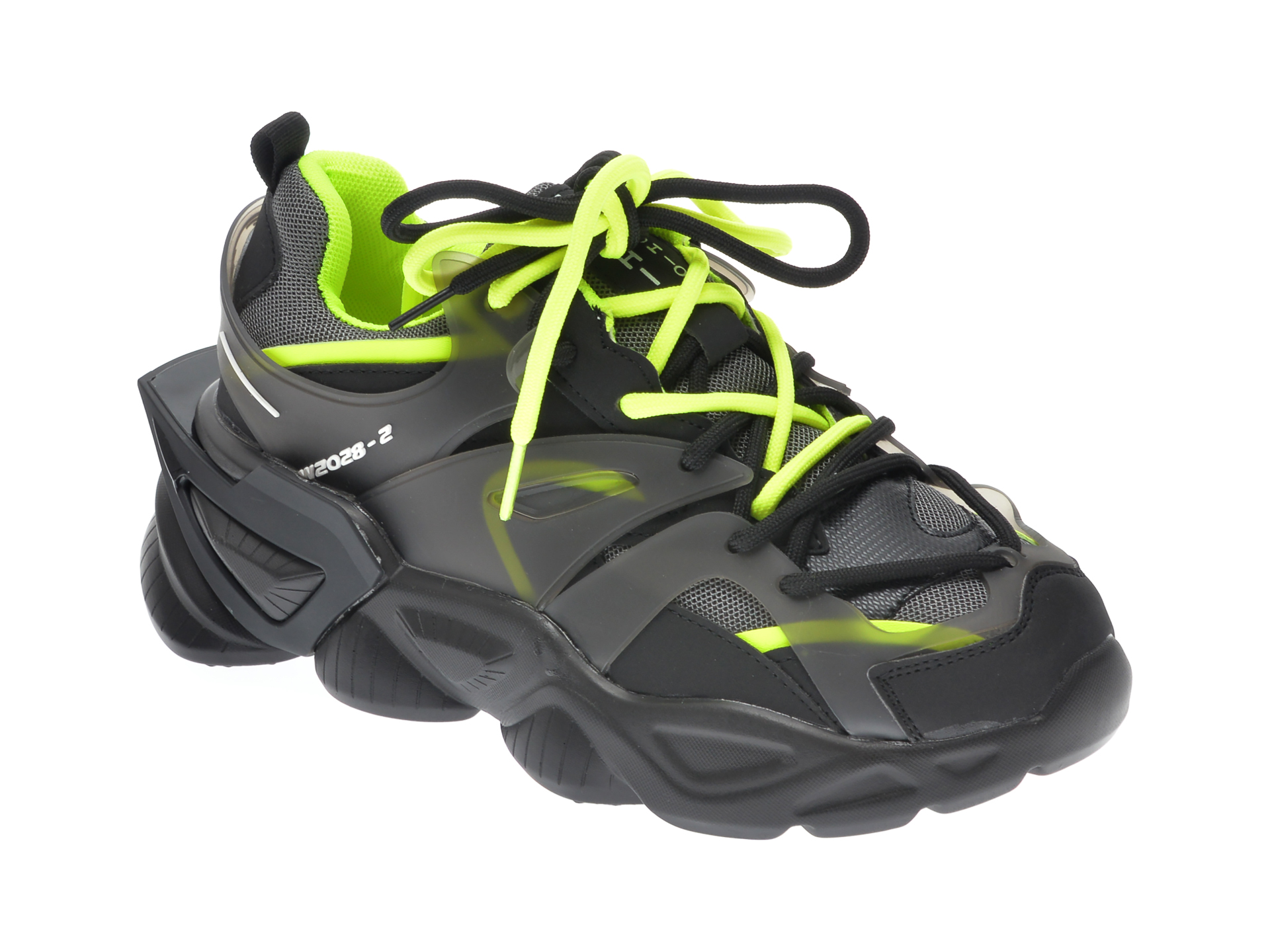 Pantofi sport GRYXX negri, 17371, din material textil si piele ecologica imagine
