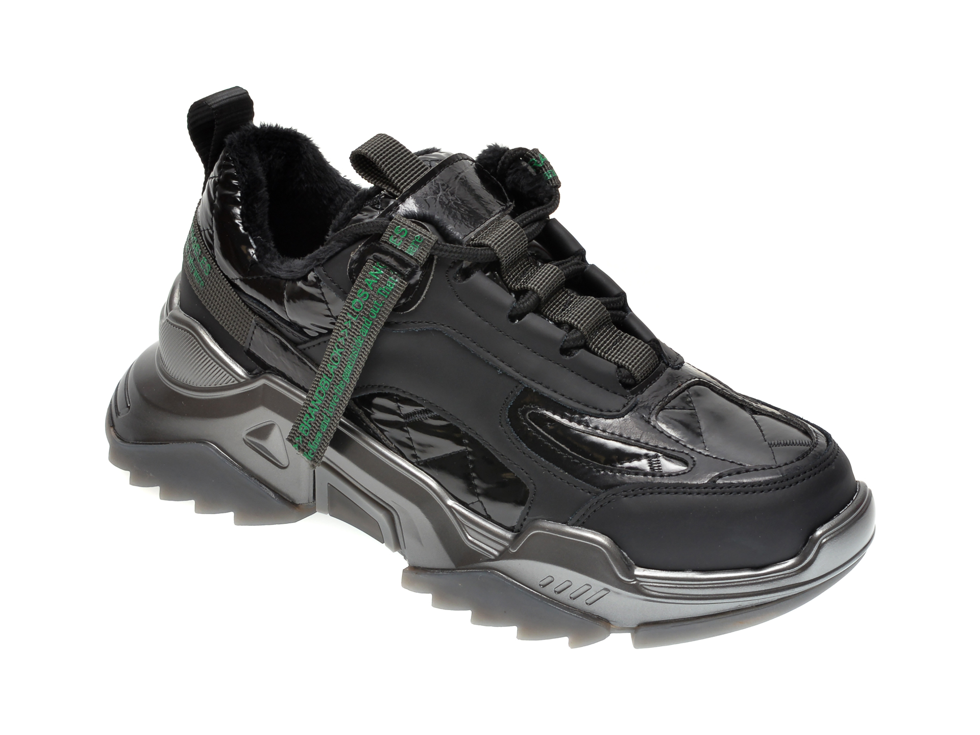 Pantofi sport GRYXX negri, 1829, din material textil si piele ecologica New