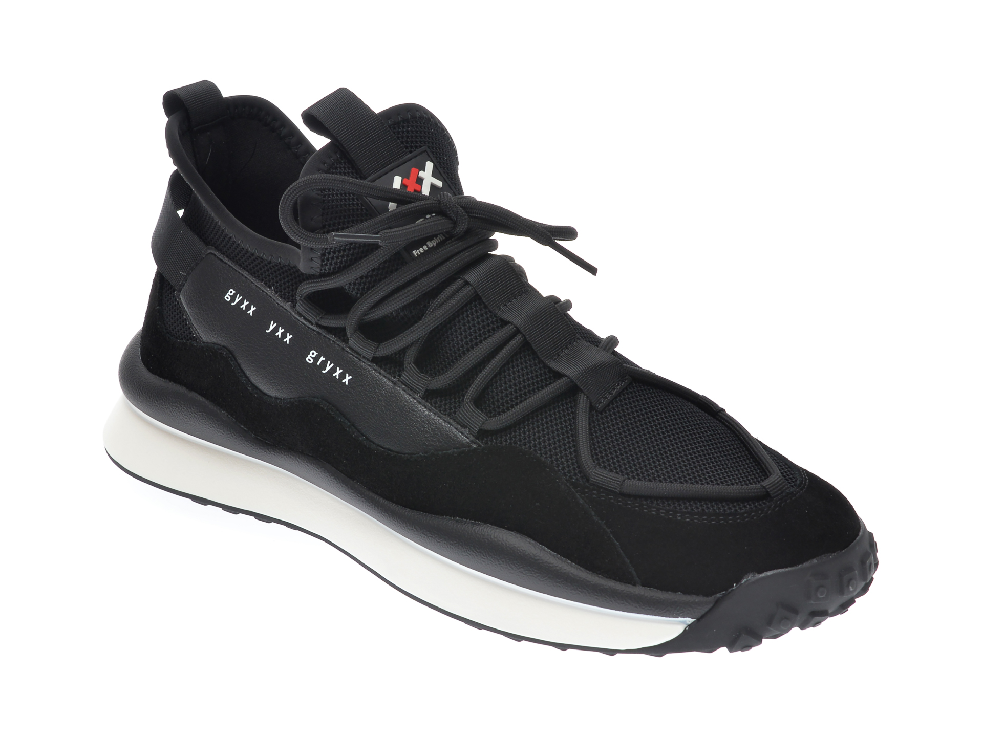 Pantofi sport GRYXX negri, 207231, din piele naturala si material textil imagine