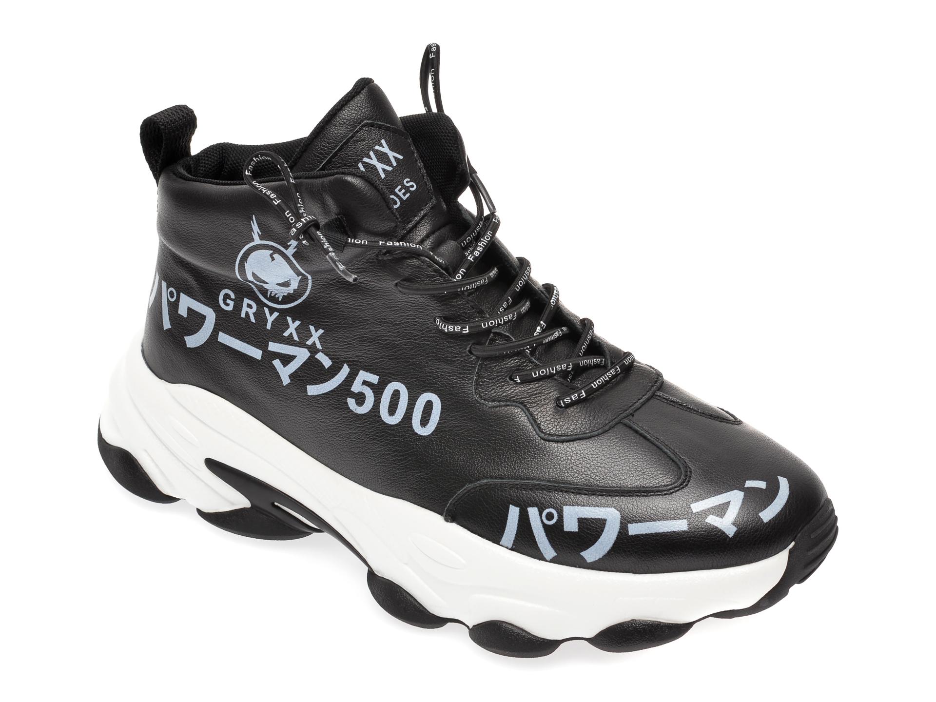Pantofi sport GRYXX negri, 21076, din piele naturala imagine