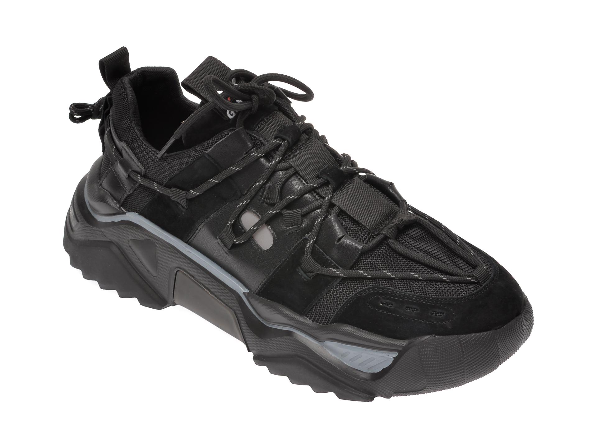 Pantofi sport GRYXX negri, 5651, din material textil si piele naturala