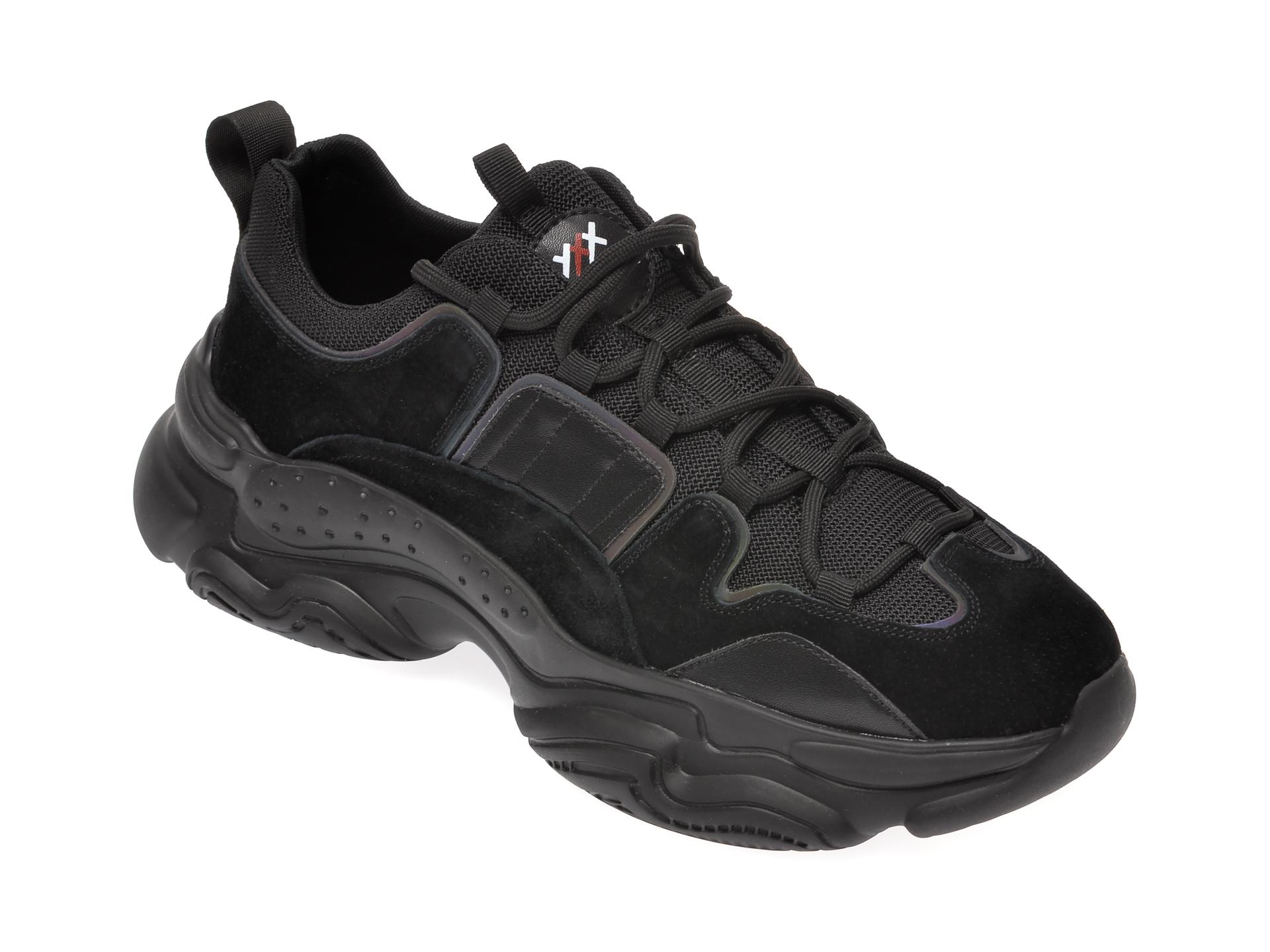 Pantofi sport GRYXX negri, 5711, din material textil si piele intoarsa imagine