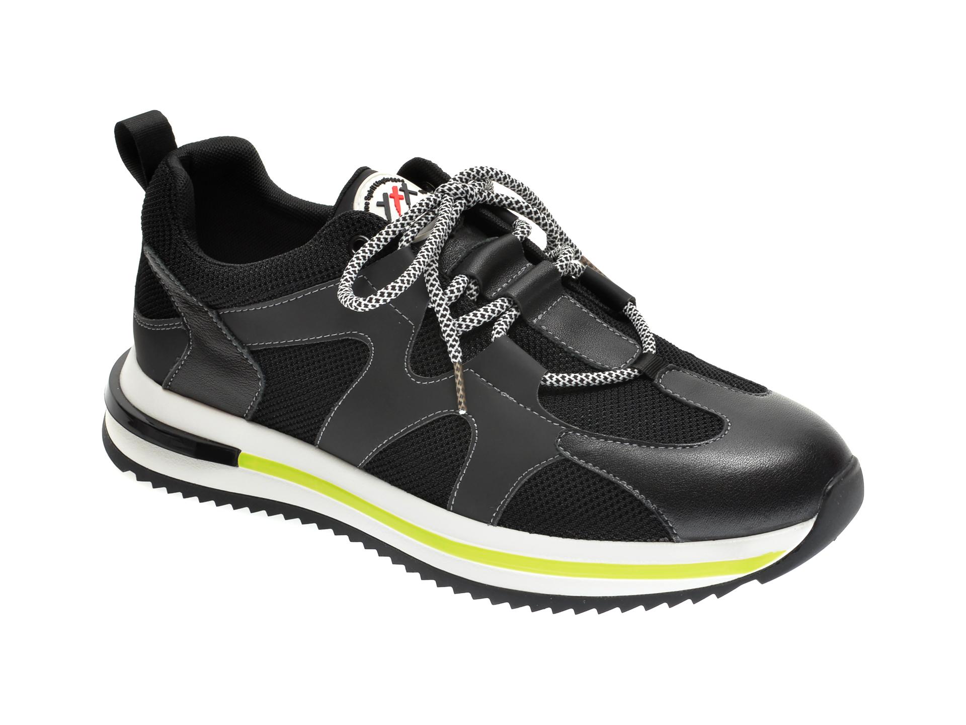 Pantofi sport GRYXX negri, 99812, din material textil si piele naturala imagine