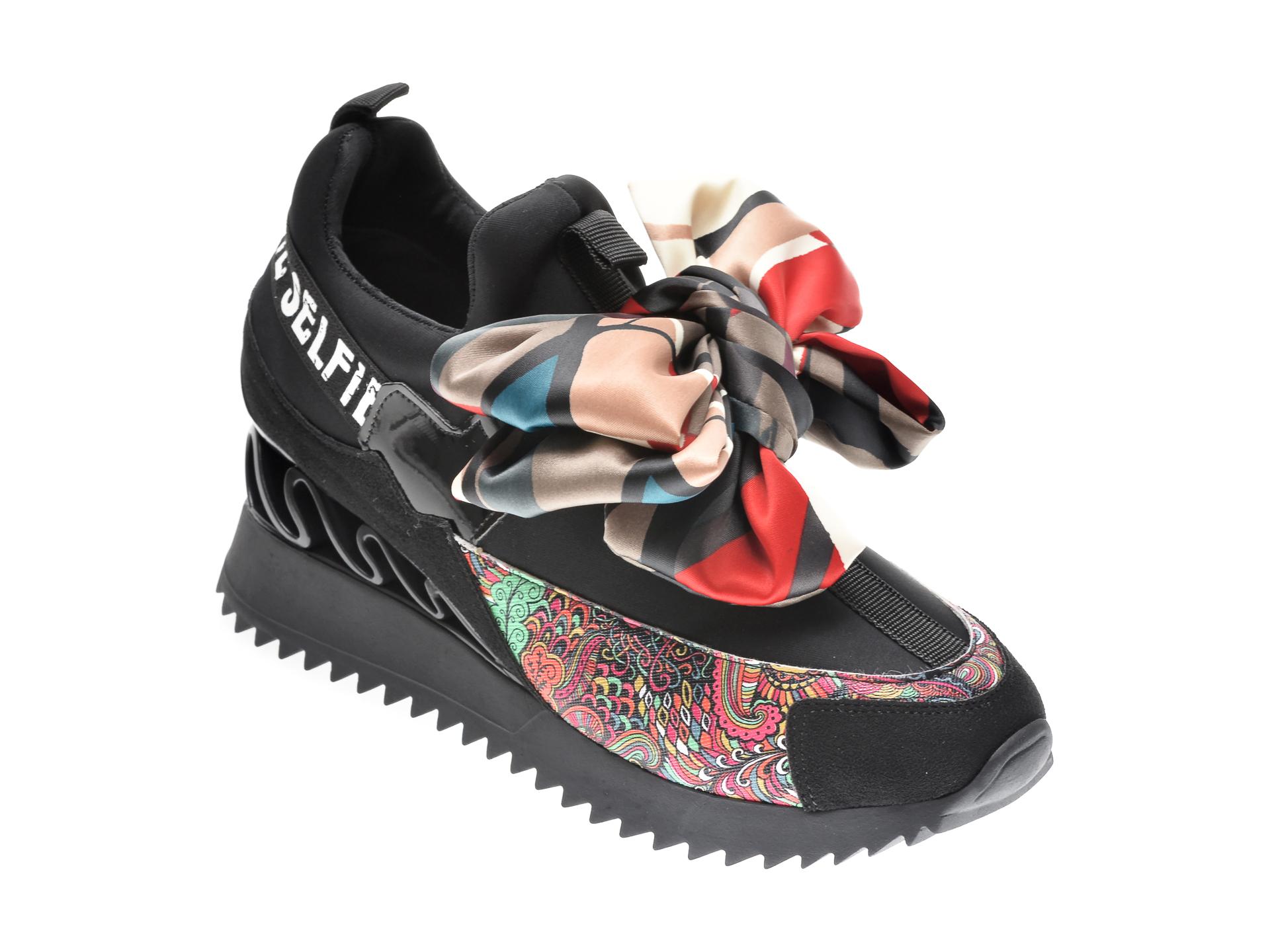 Pantofi sport GRYXX negri, MK8855, din material textil si piele ecologica