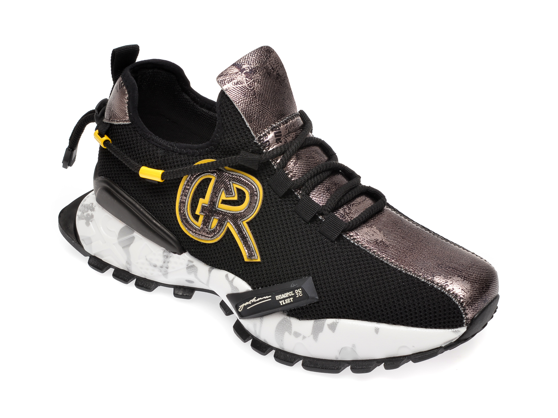 Pantofi sport GRYXX negri, N631, din material textil si piele naturala