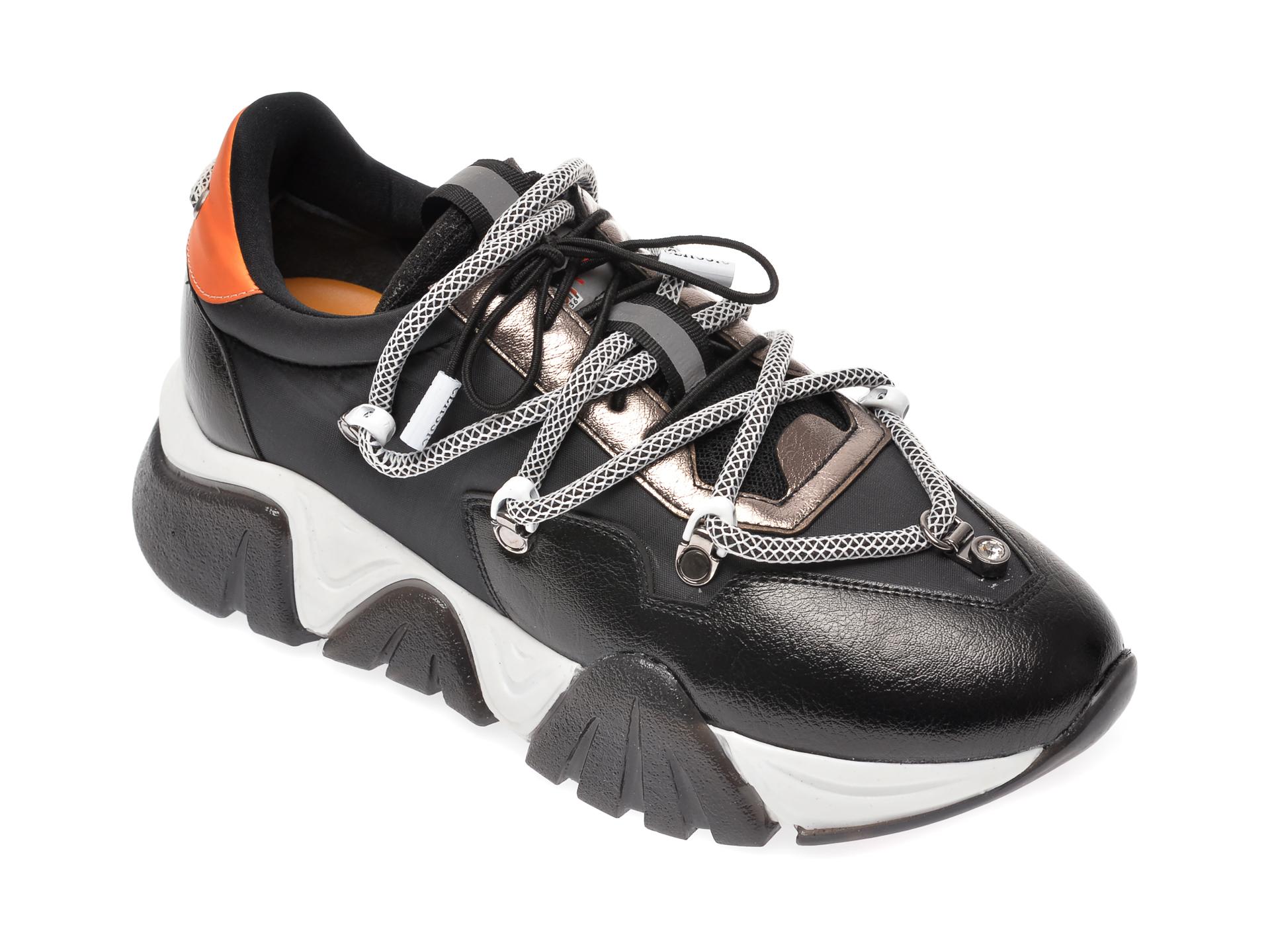 Pantofi sport GRYXX negri, T912, din material textil si piele ecologica