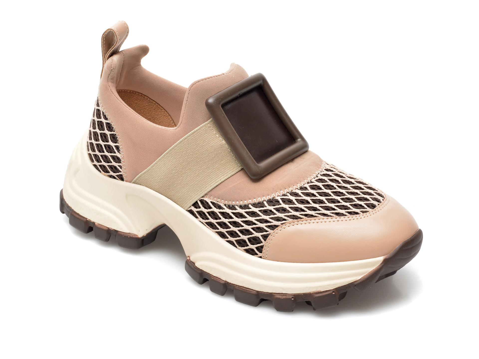 Pantofi Sport Gryxx Nude, Mo12410, Din Material Textil Si Piele Ecologica