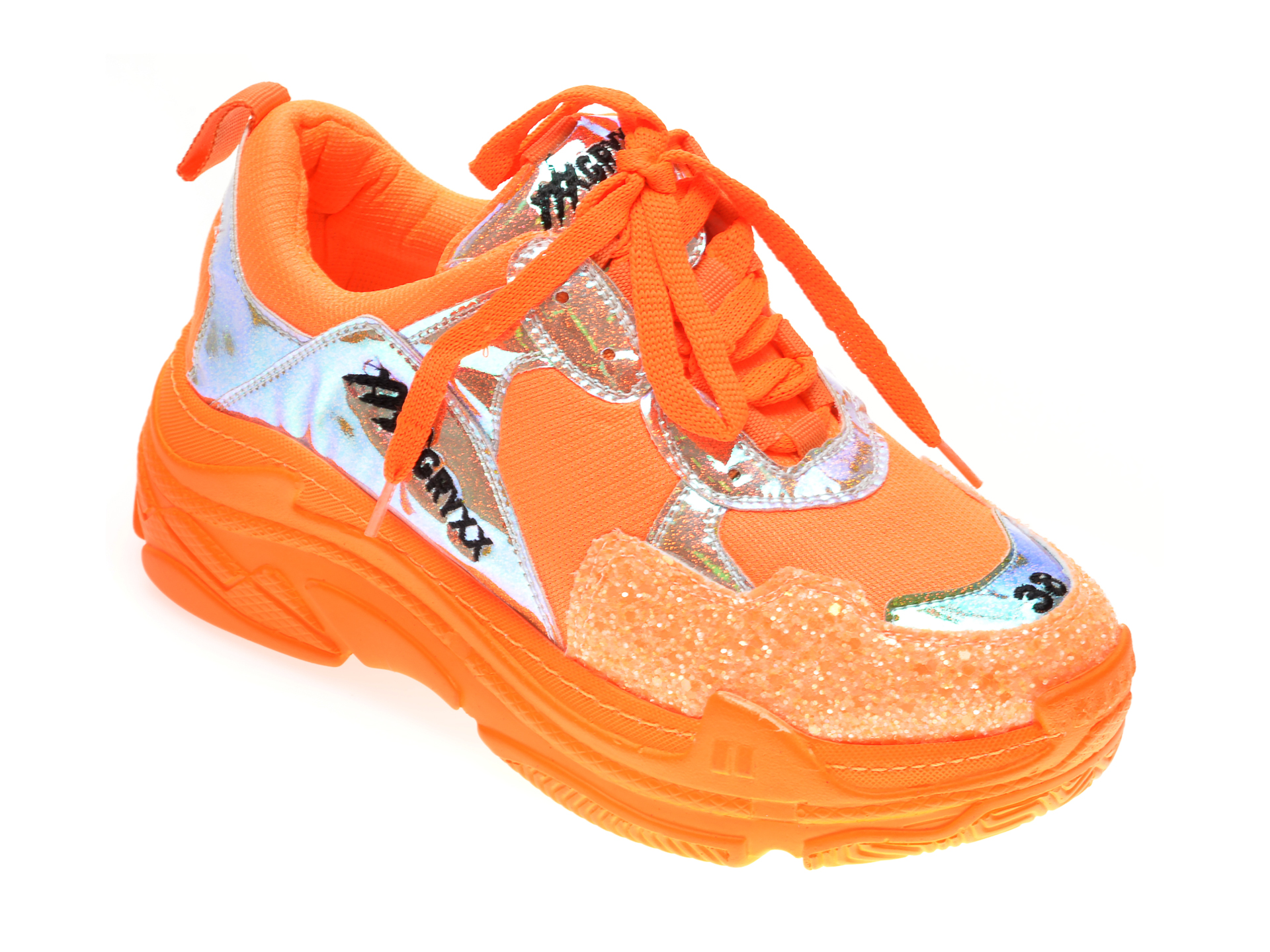 Pantofi sport GRYXX portocalii, M05801, din material textil si piele ecologica