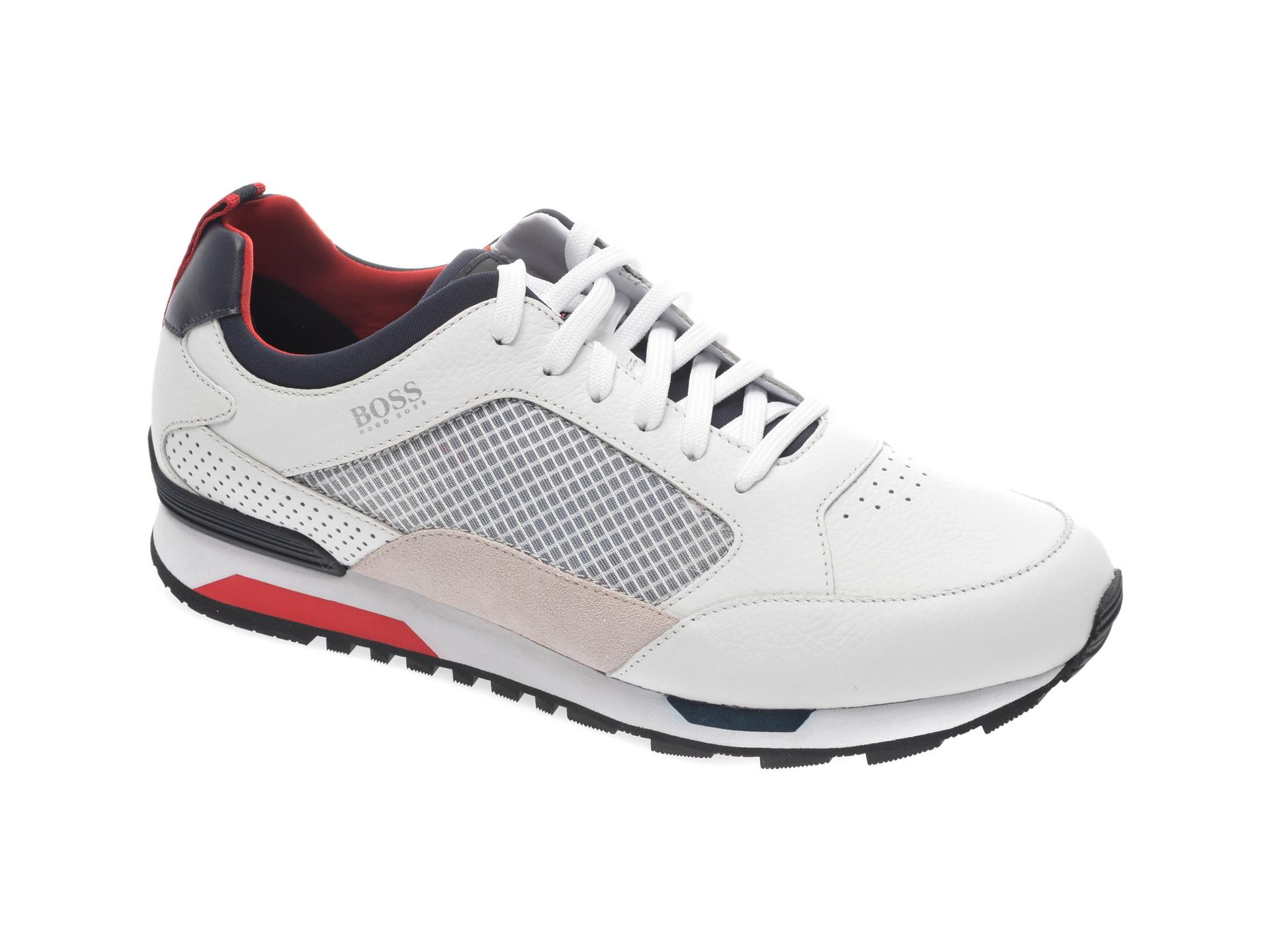 Pantofi sport HUGO BOSS albi, 8483, din material textil si piele naturala imagine