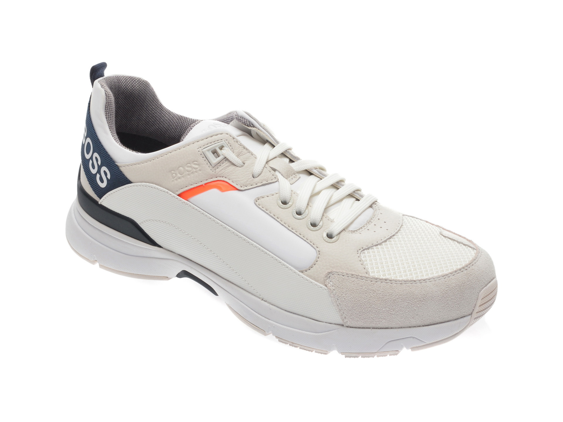 Pantofi sport HUGO BOSS albi, 8547, din material textil si piele naturala