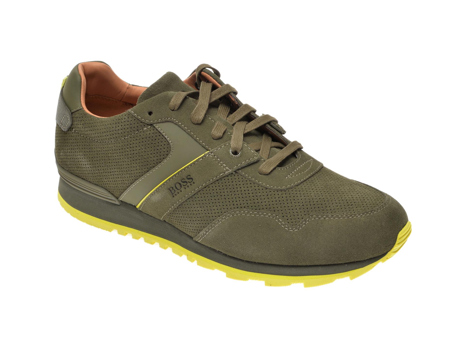Pantofi sport HUGO BOSS kaki, 8495, din piele intoarsa imagine