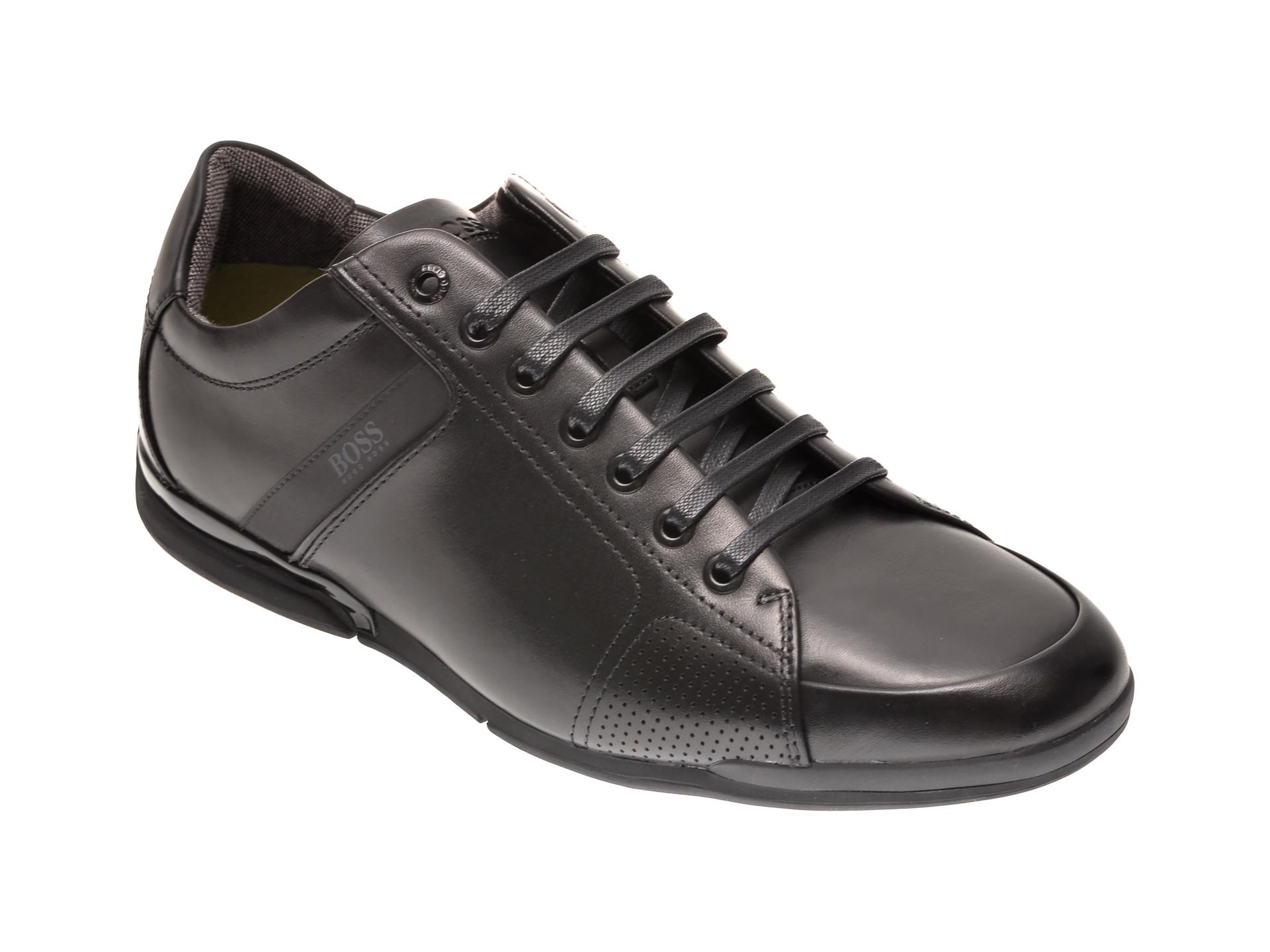 Pantofi sport HUGO BOSS negri, 1835, din piele naturala imagine