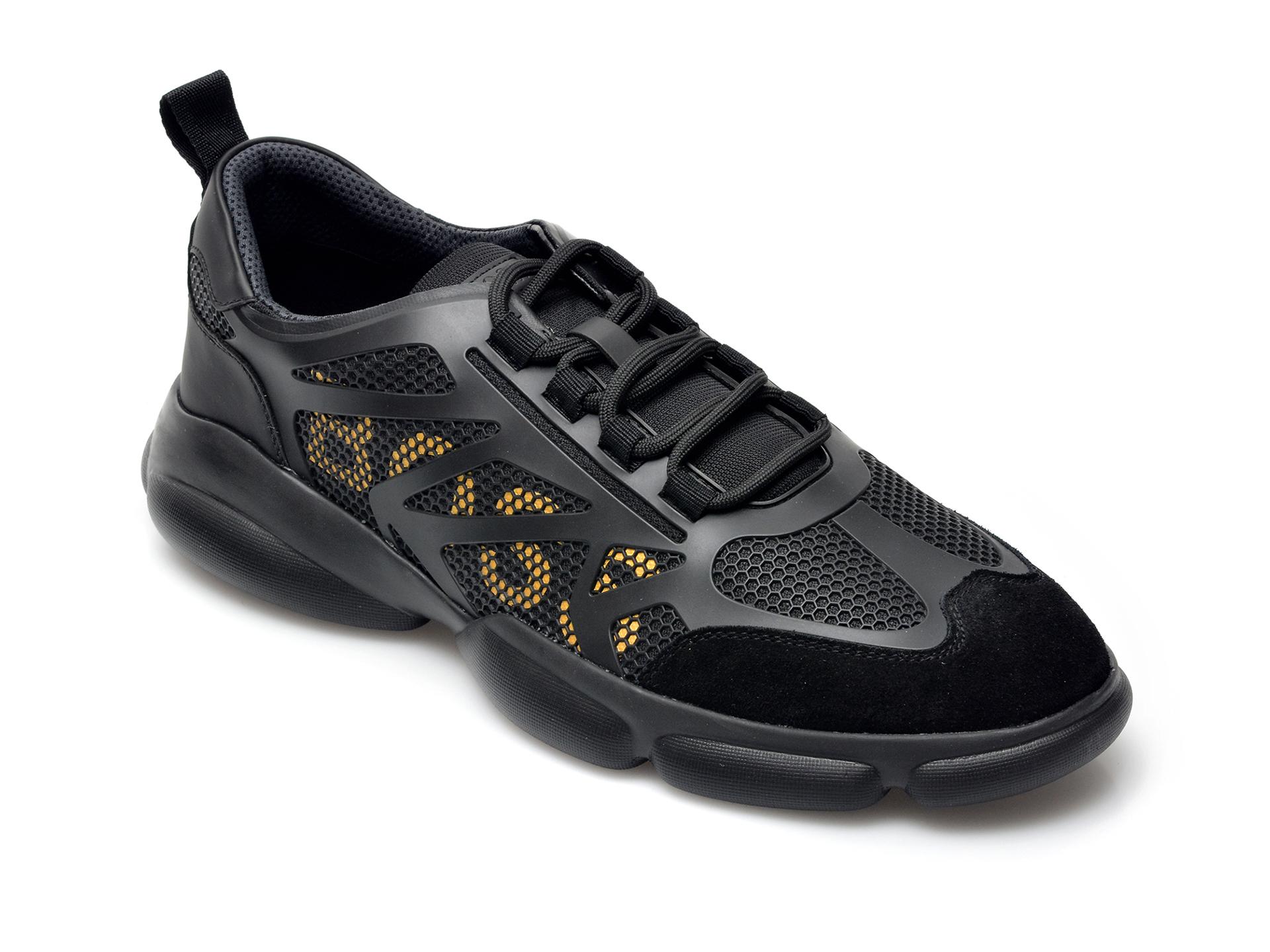 Pantofi sport HUGO BOSS negri, 2037, din material textil si piele intoarsa imagine otter.ro 2021