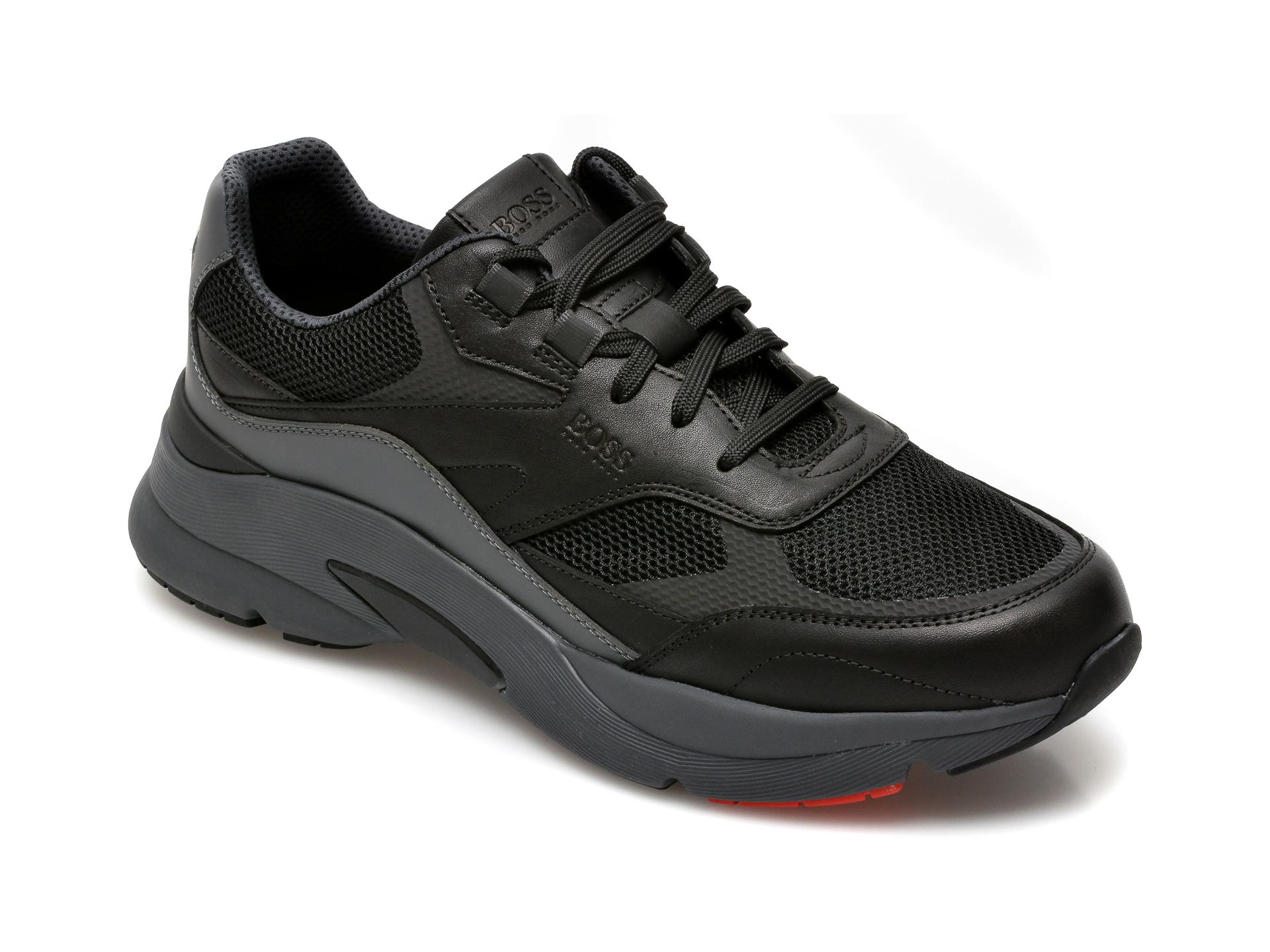 Pantofi sport HUGO BOSS negri, 2049, din material textil si piele naturala imagine