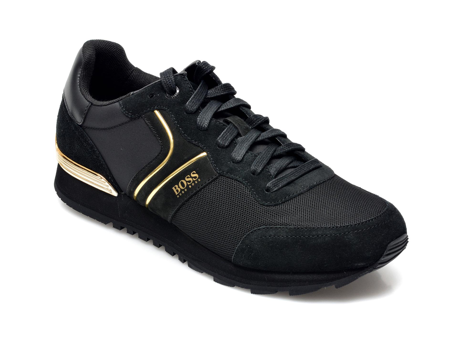 Pantofi sport HUGO BOSS negri, 3661, din material textil si piele intoarsa