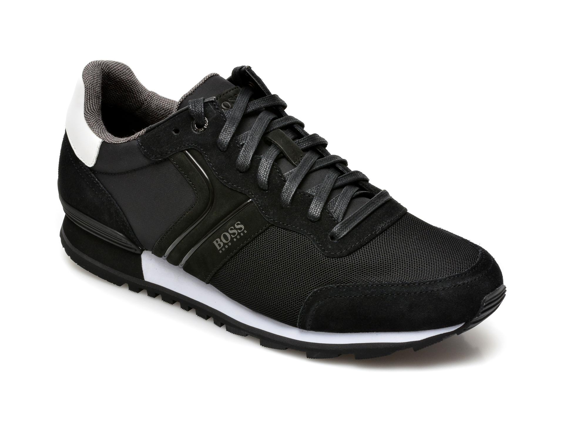 Pantofi sport HUGO BOSS negri, 3661, din material textil si piele naturala imagine