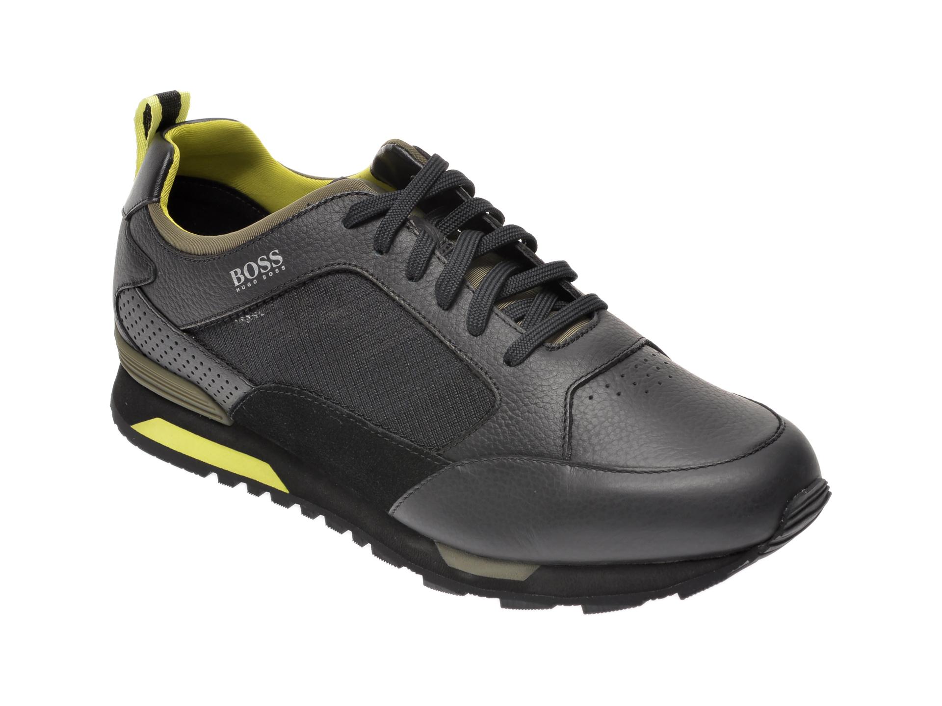 Pantofi sport HUGO BOSS negri, 8483, din material textil si piele naturala imagine