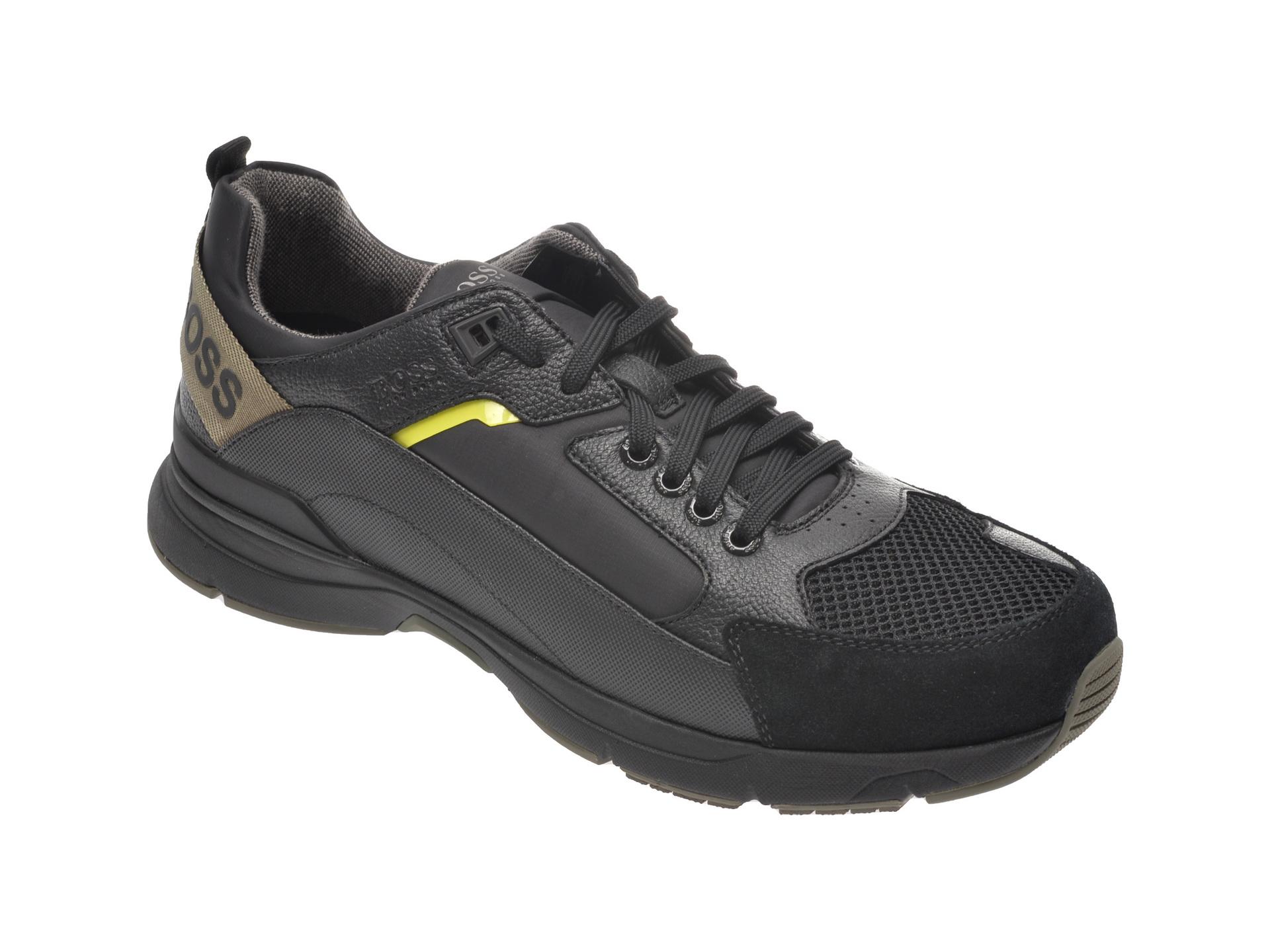 Pantofi sport HUGO BOSS negri, 8547, din material textil si piele naturala