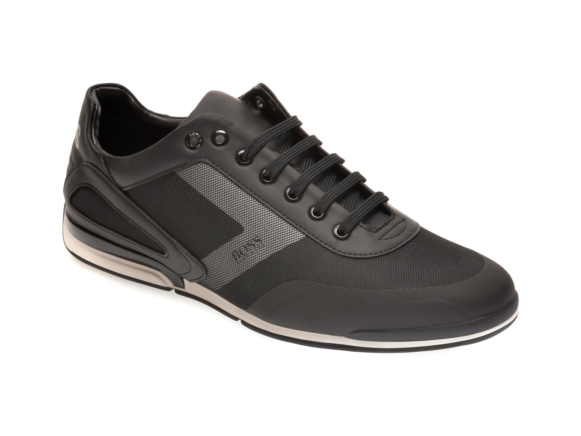 Pantofi Sport Hugo Boss Negri, 9553, Din Material Textil Si Piele Ecologica