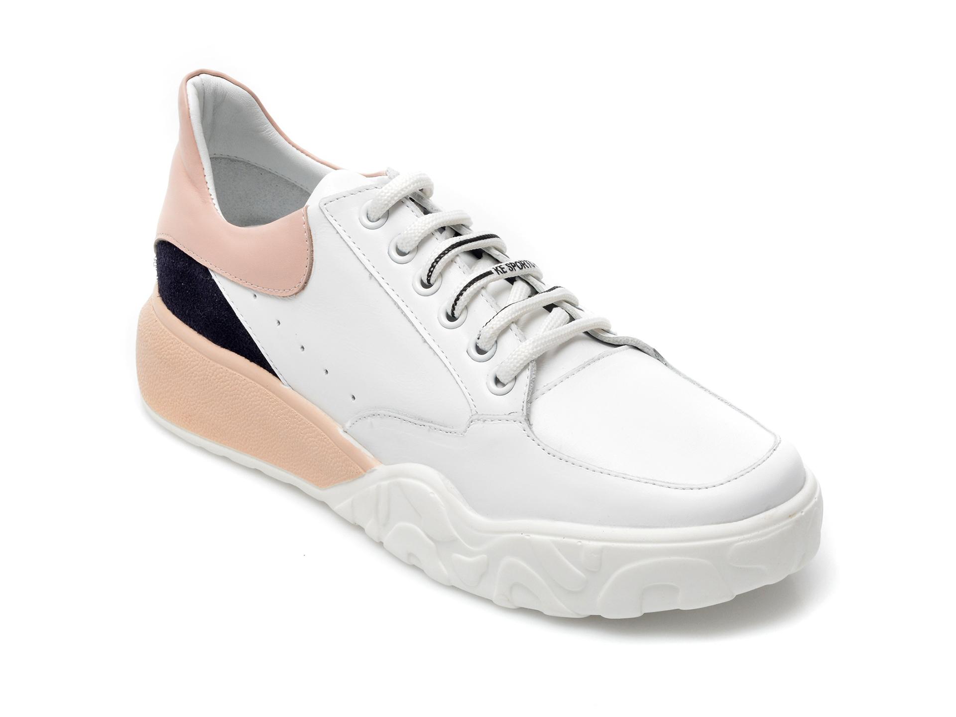 Pantofi sport IMAGE albi, 157939, din piele naturala imagine otter.ro 2021