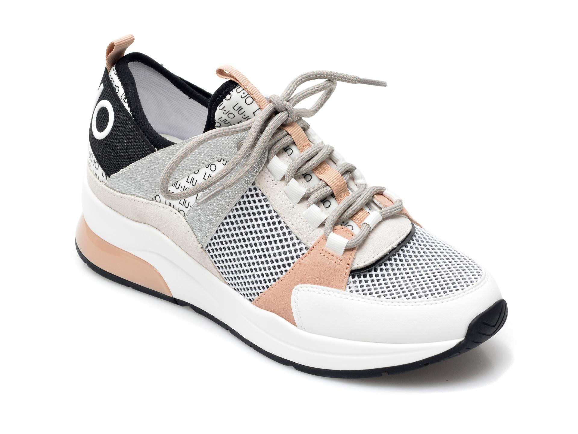 Pantofi sport LIU JO albi, Karlie 55, din material textil si piele ecologica